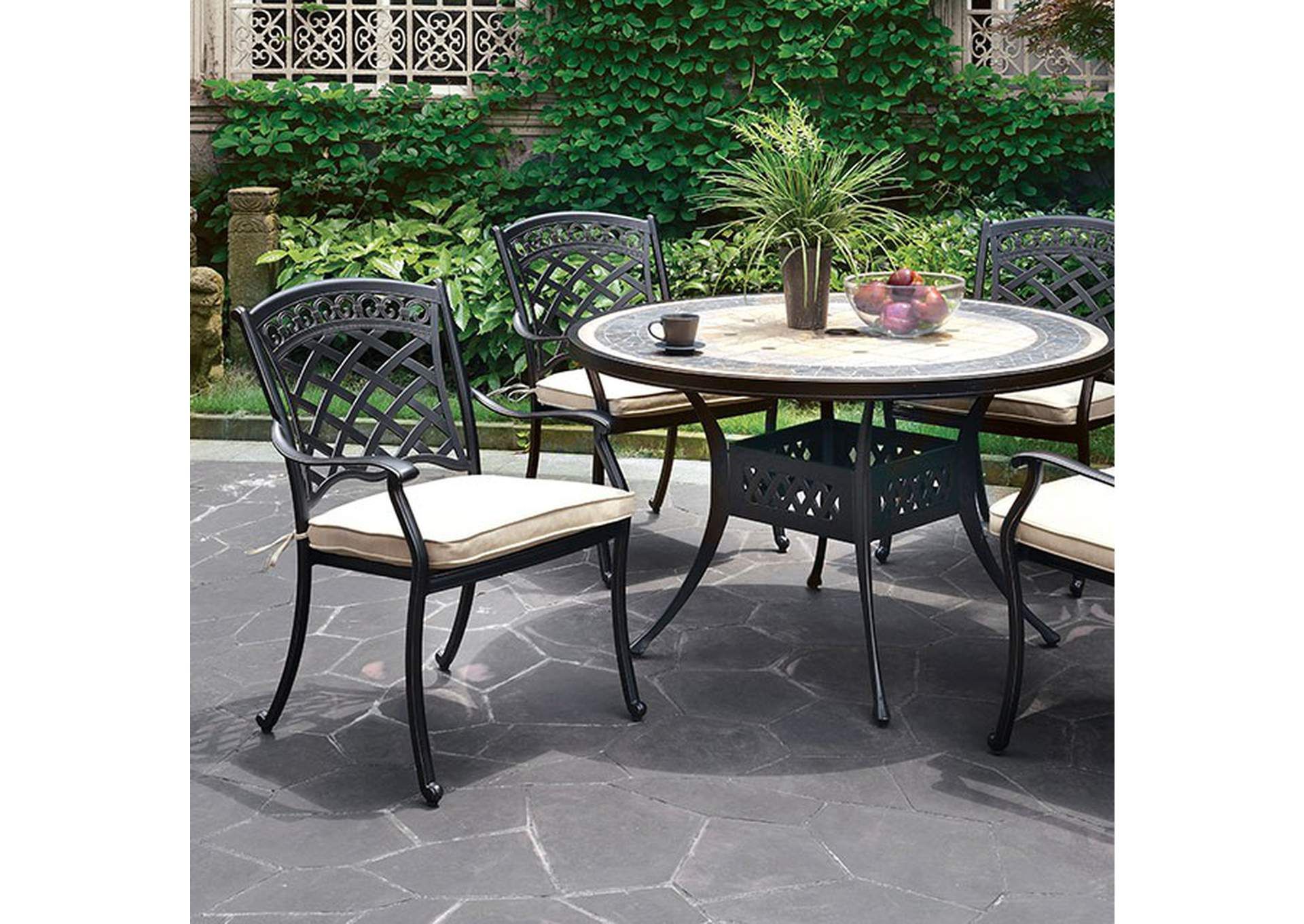 Charissa Antique Black Round Patio Table,Furniture of America