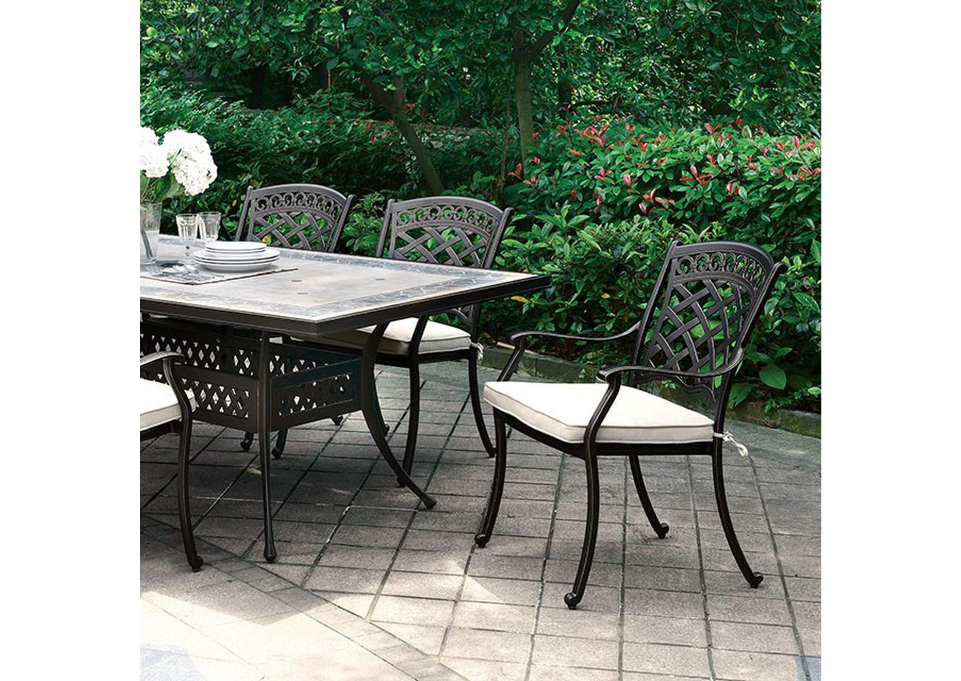 Charissa Antique Black Patio Table,Furniture of America