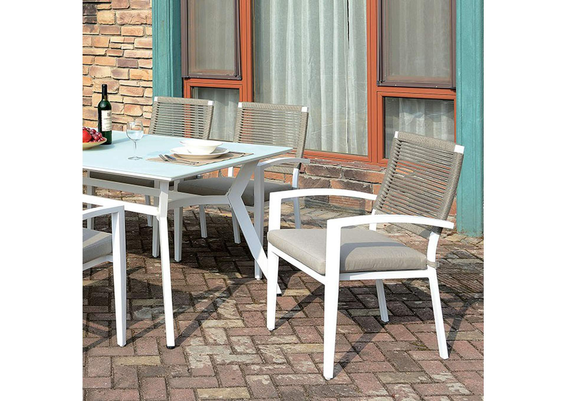 Arisha White Patio Table,Furniture of America