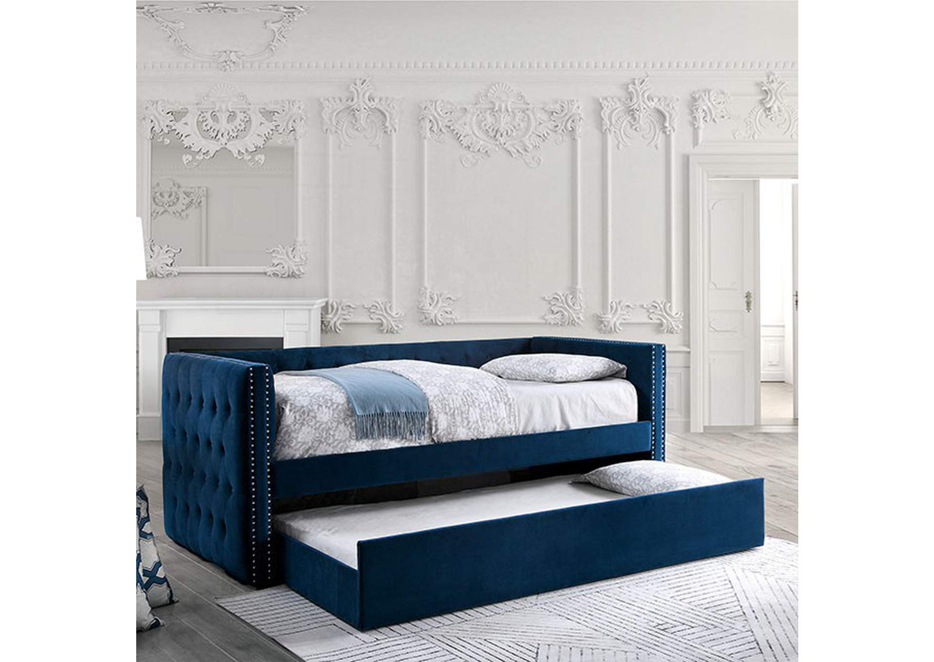 Susanna Navy Daybed w/Trundle,Furniture of America