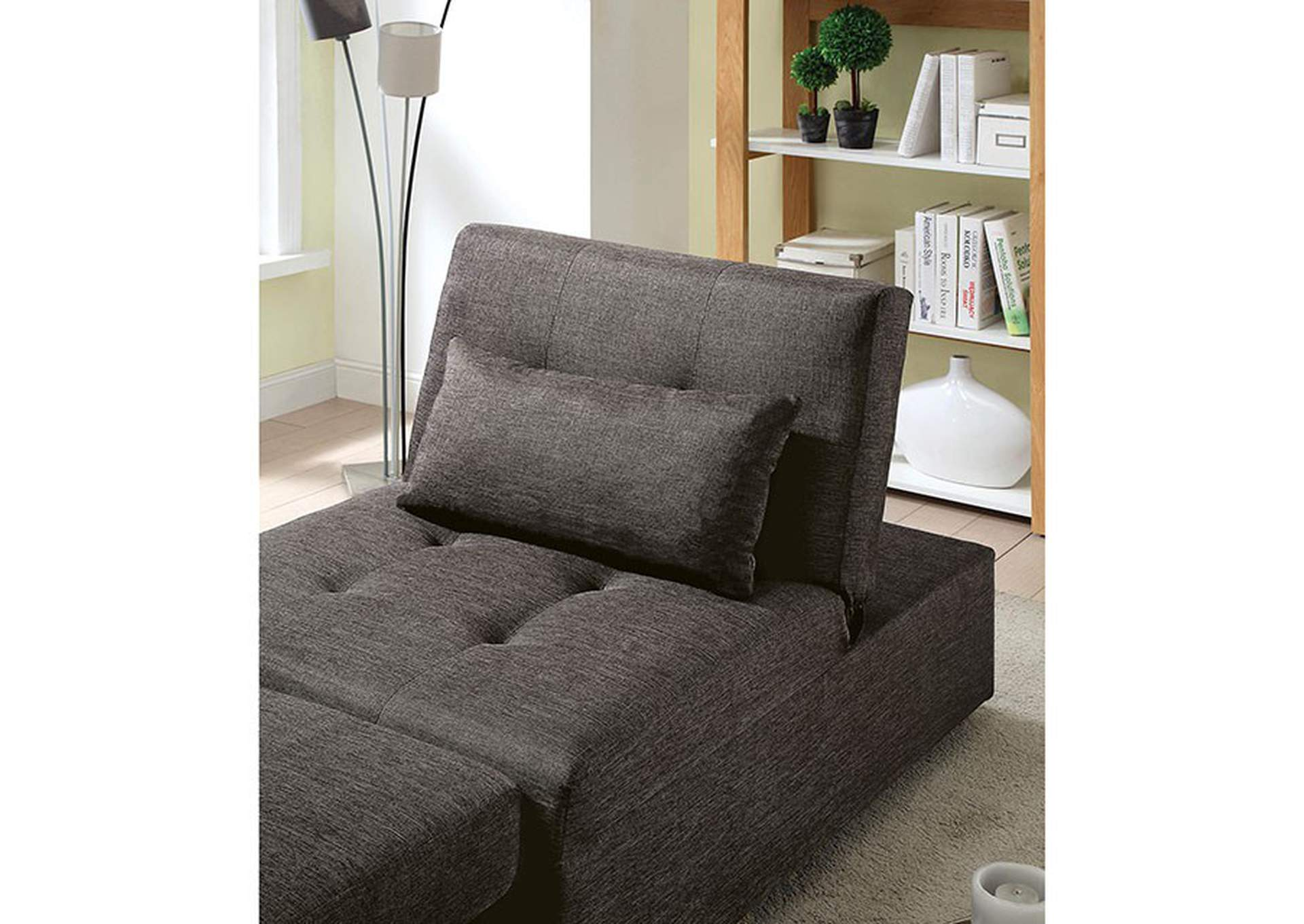Oona Dark Gray Futon Sofa,Furniture of America