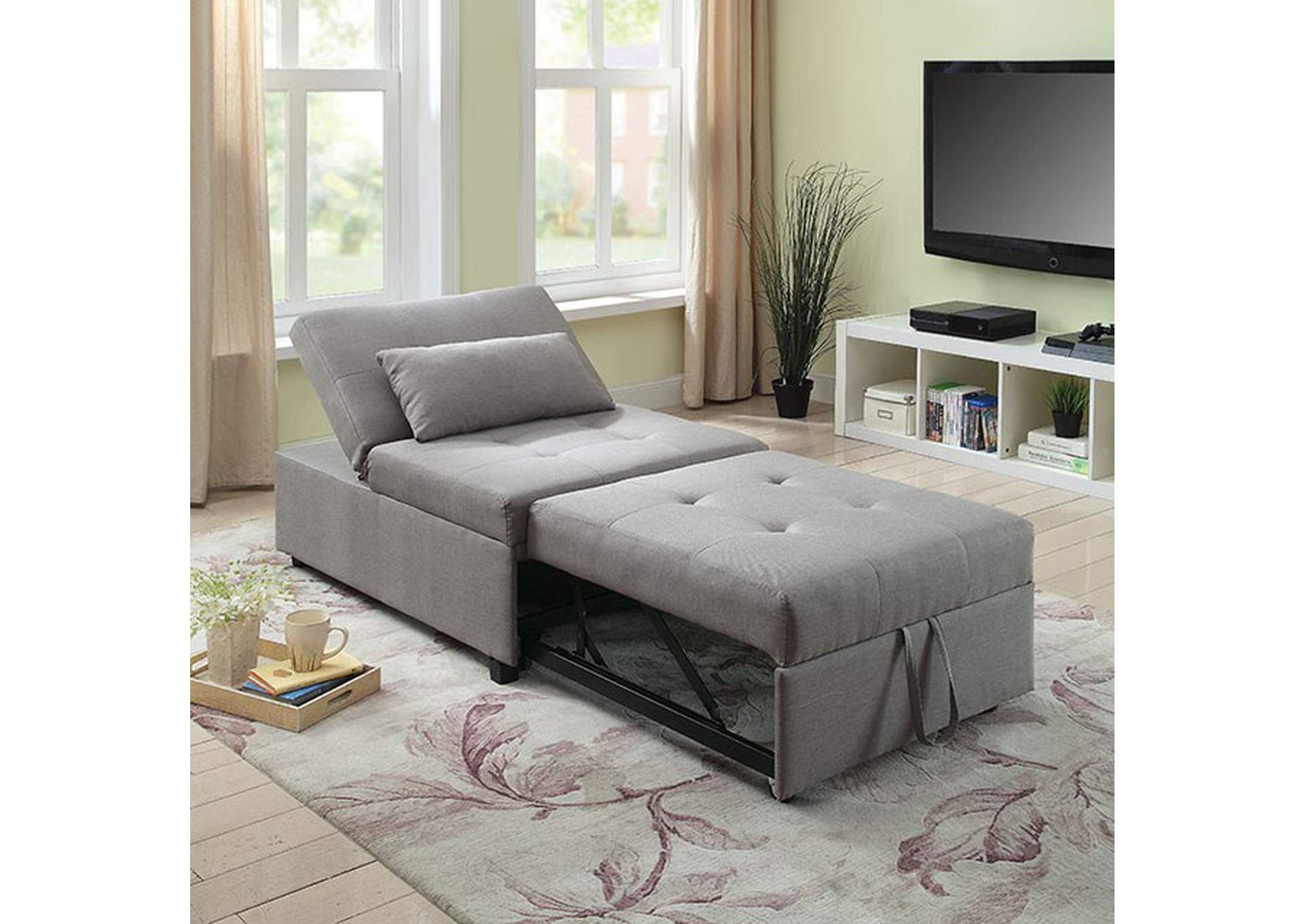 Oona Gray Futon Sofa,Furniture of America