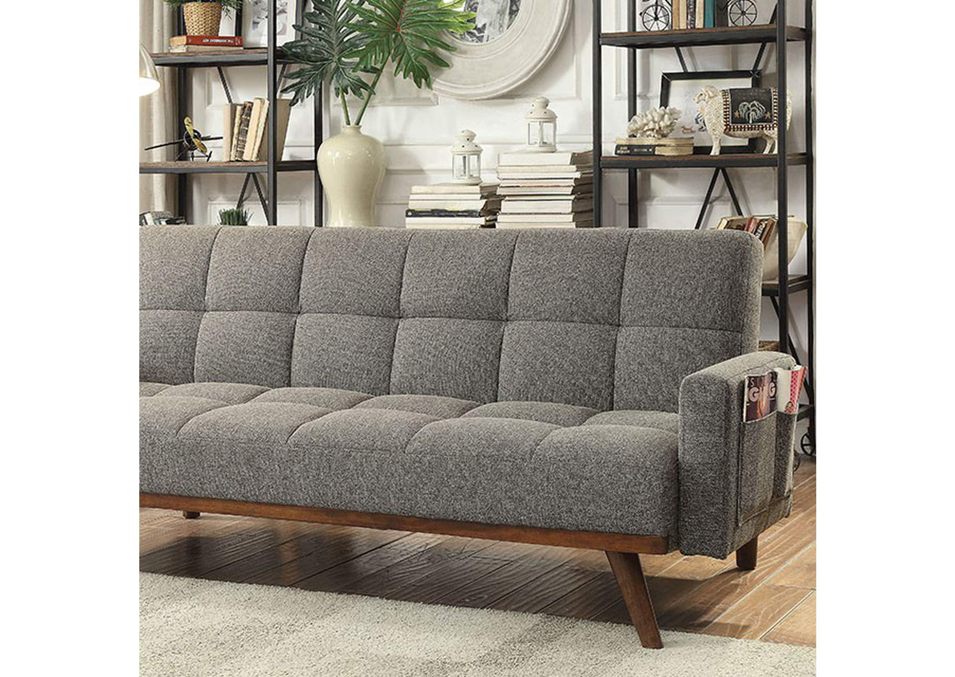 Nettie Gray Futon Sofa,Furniture of America