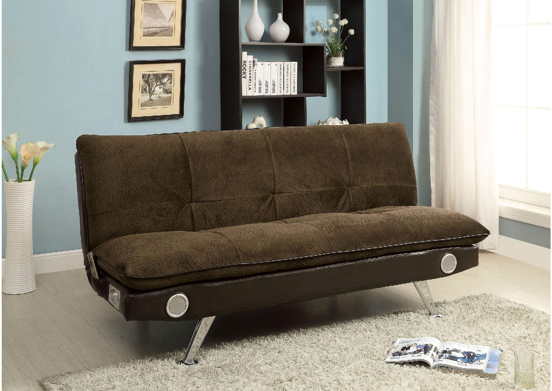 Gallagher Brown Futon Sofa w/Bluetooth Speaker,Furniture of America