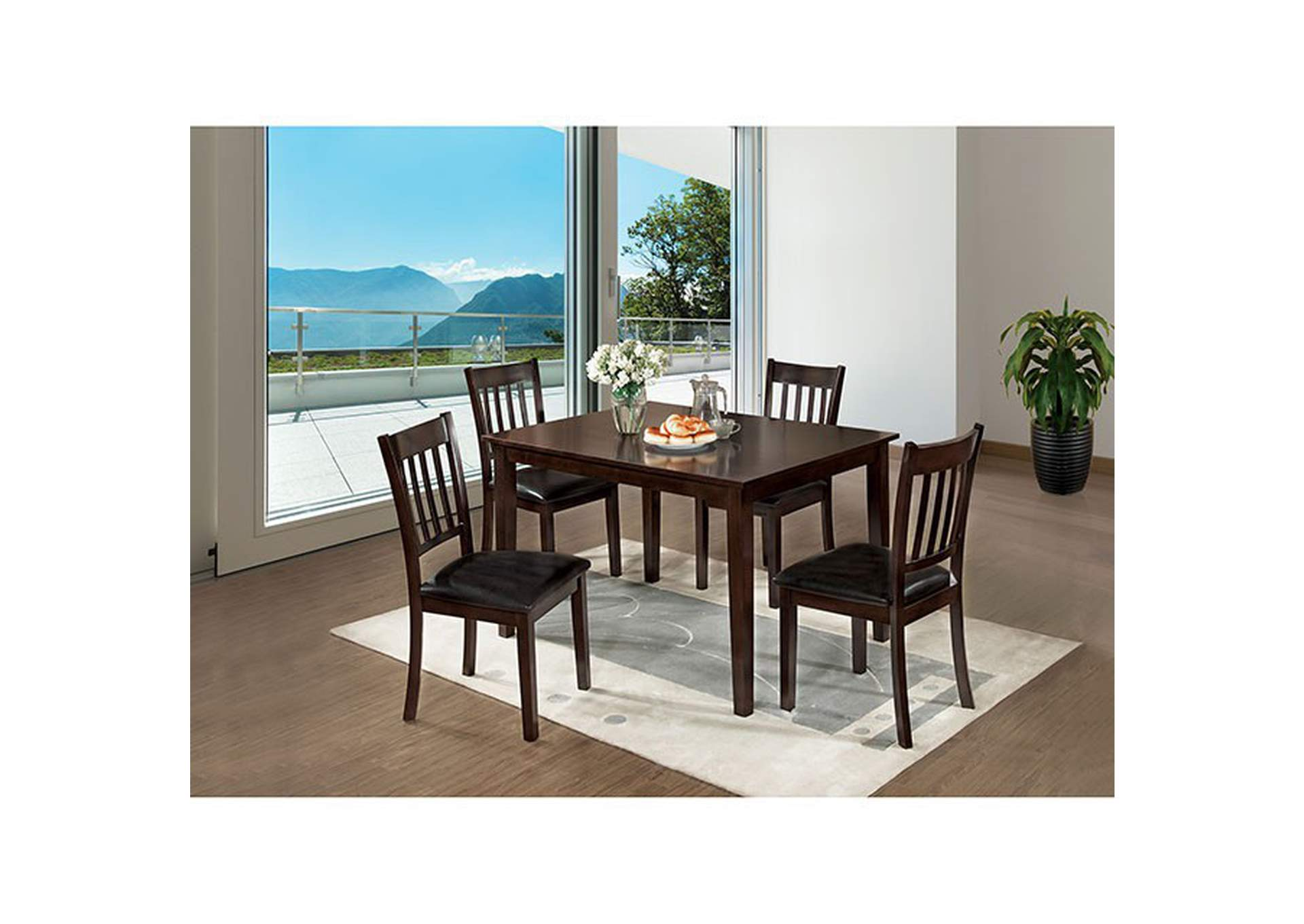 West Creek Espresso 5 Piece Dining Table Set,Furniture of America