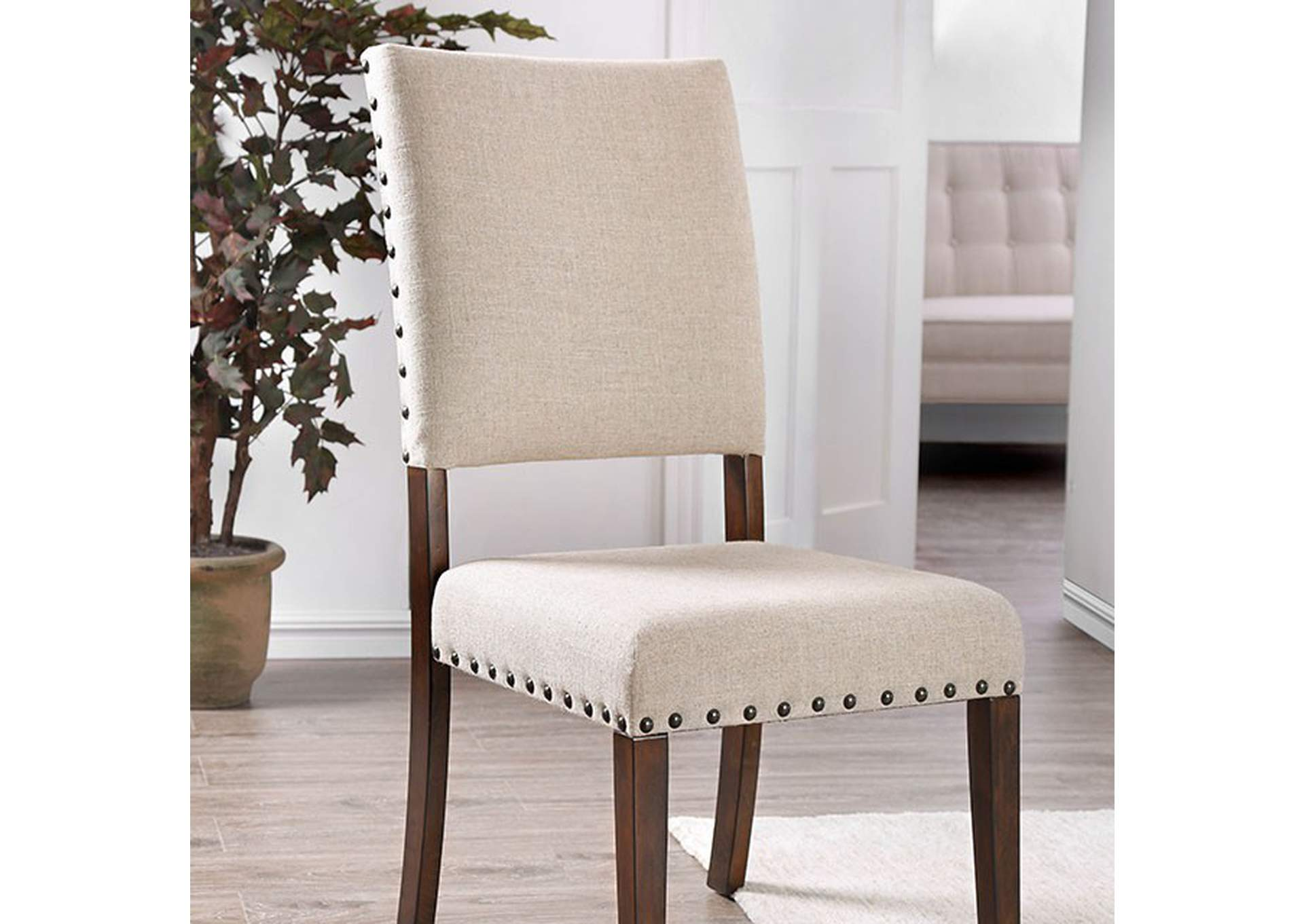 Aurora Solis Brown Cherry Side Chair [Set of 2],Furniture of America
