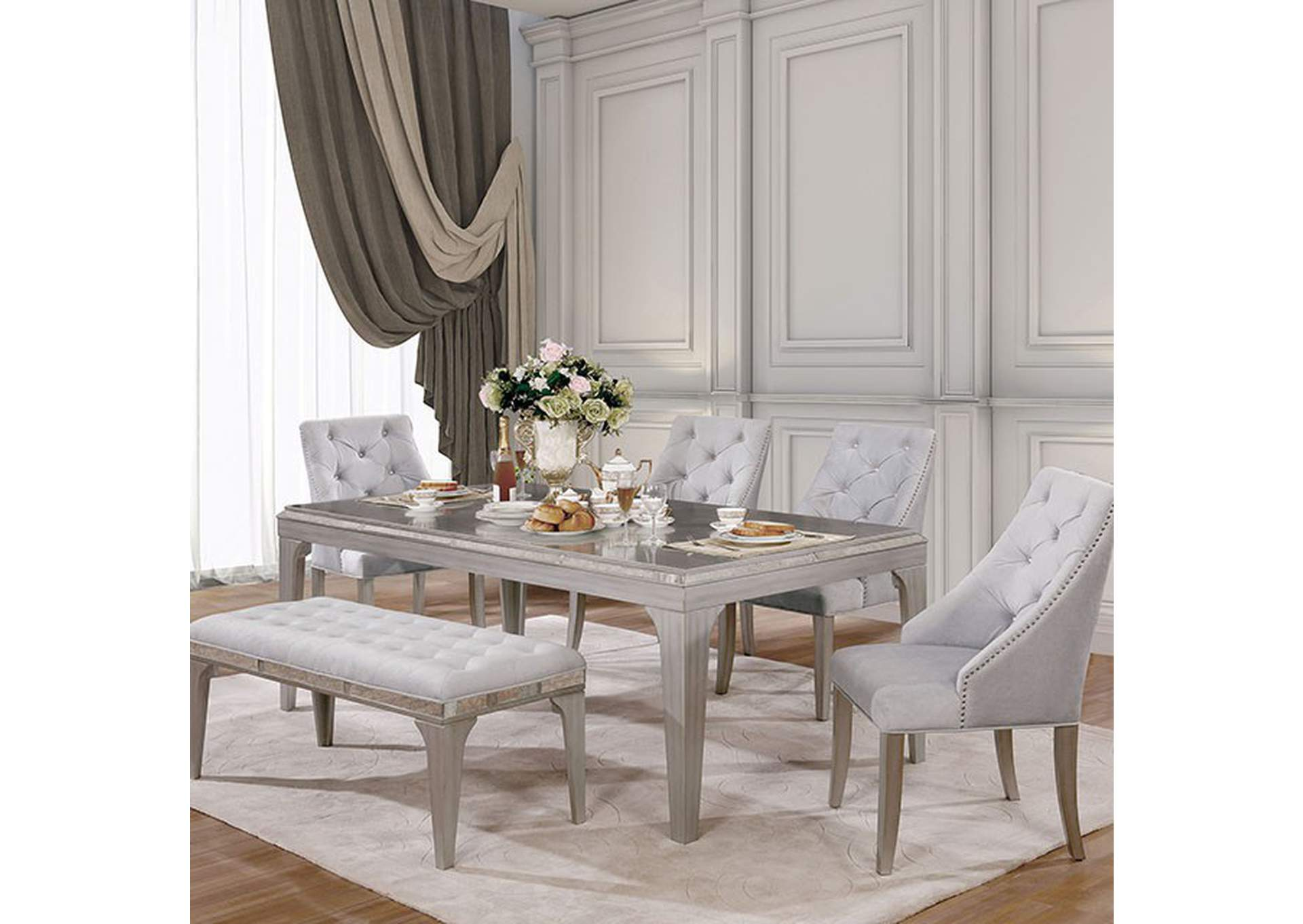 Diocles Silver Dining Table,Furniture of America