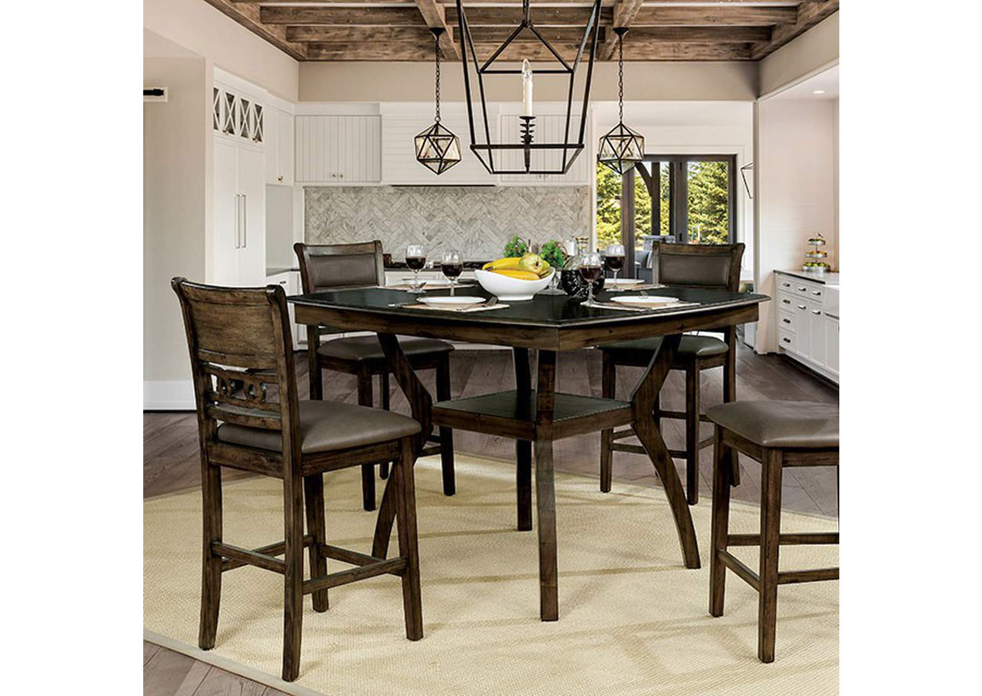 Flick Rustic Oak Counter Height Table,Furniture of America