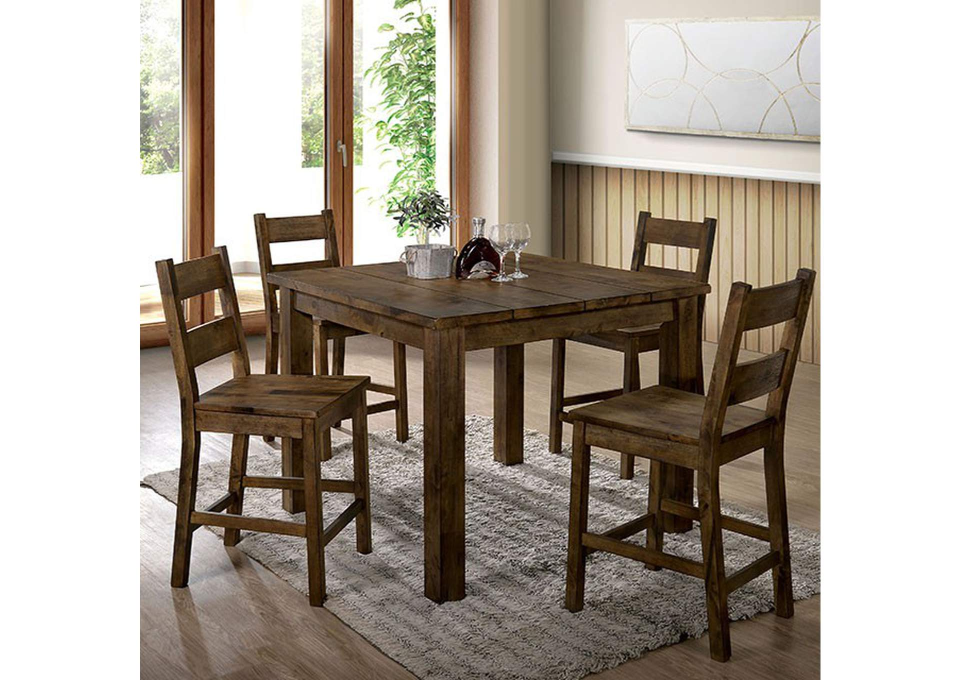 Kristen Rustic Oak Counter Height Table,Furniture of America