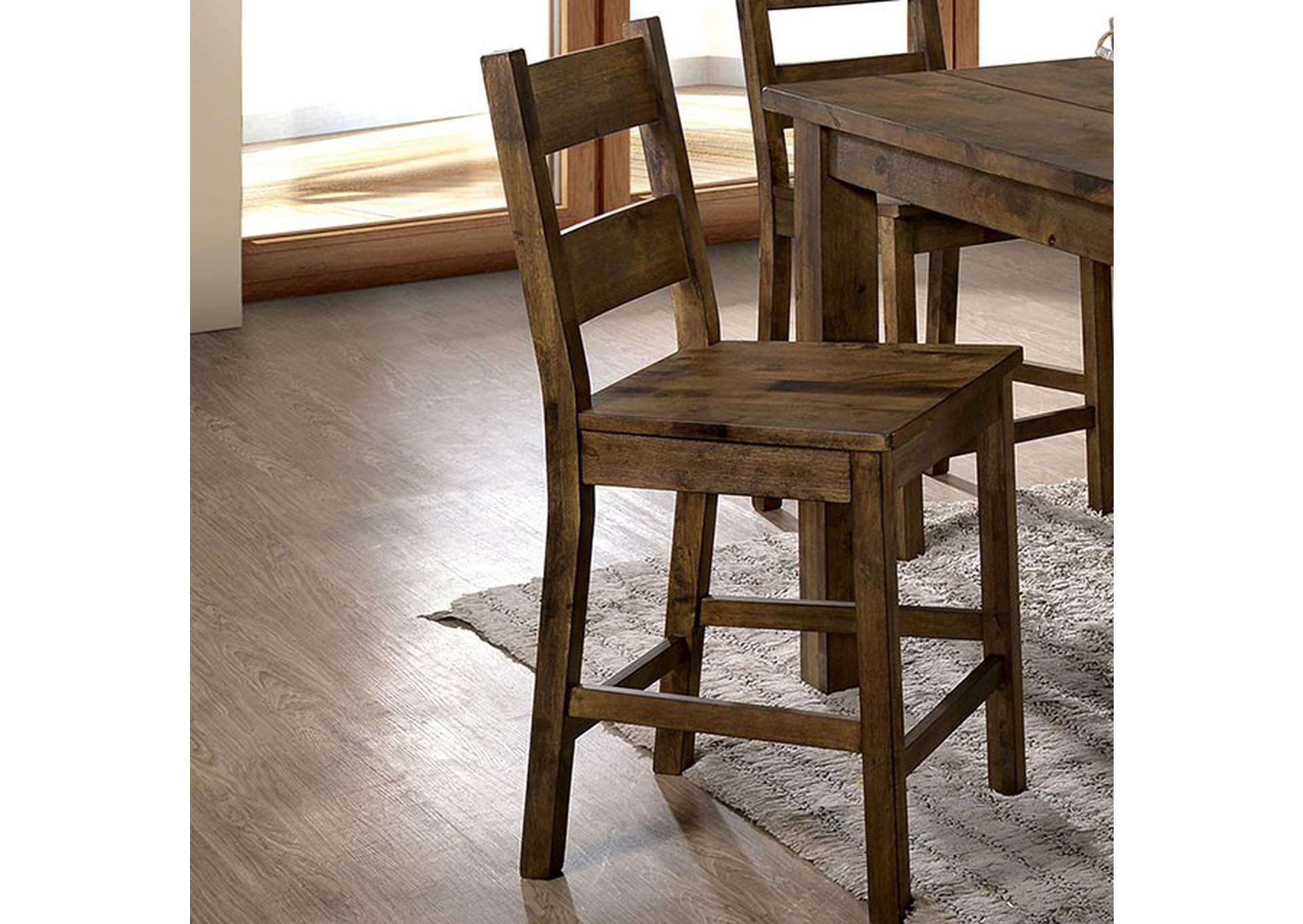Kristen Rustic Oak Counter Chair (Set of 2),Furniture of America