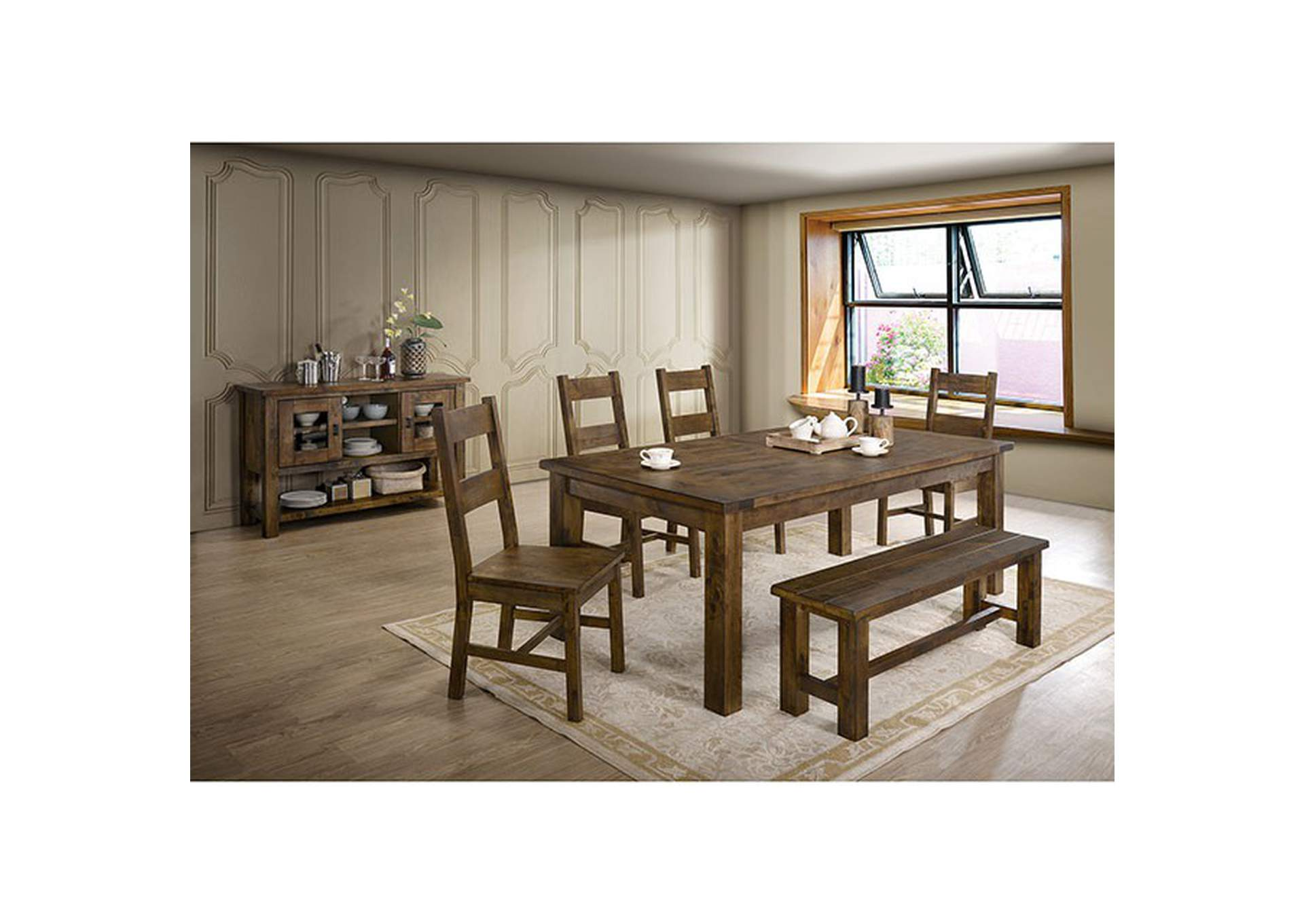 Kristen Rustic Oak Bench,Furniture of America