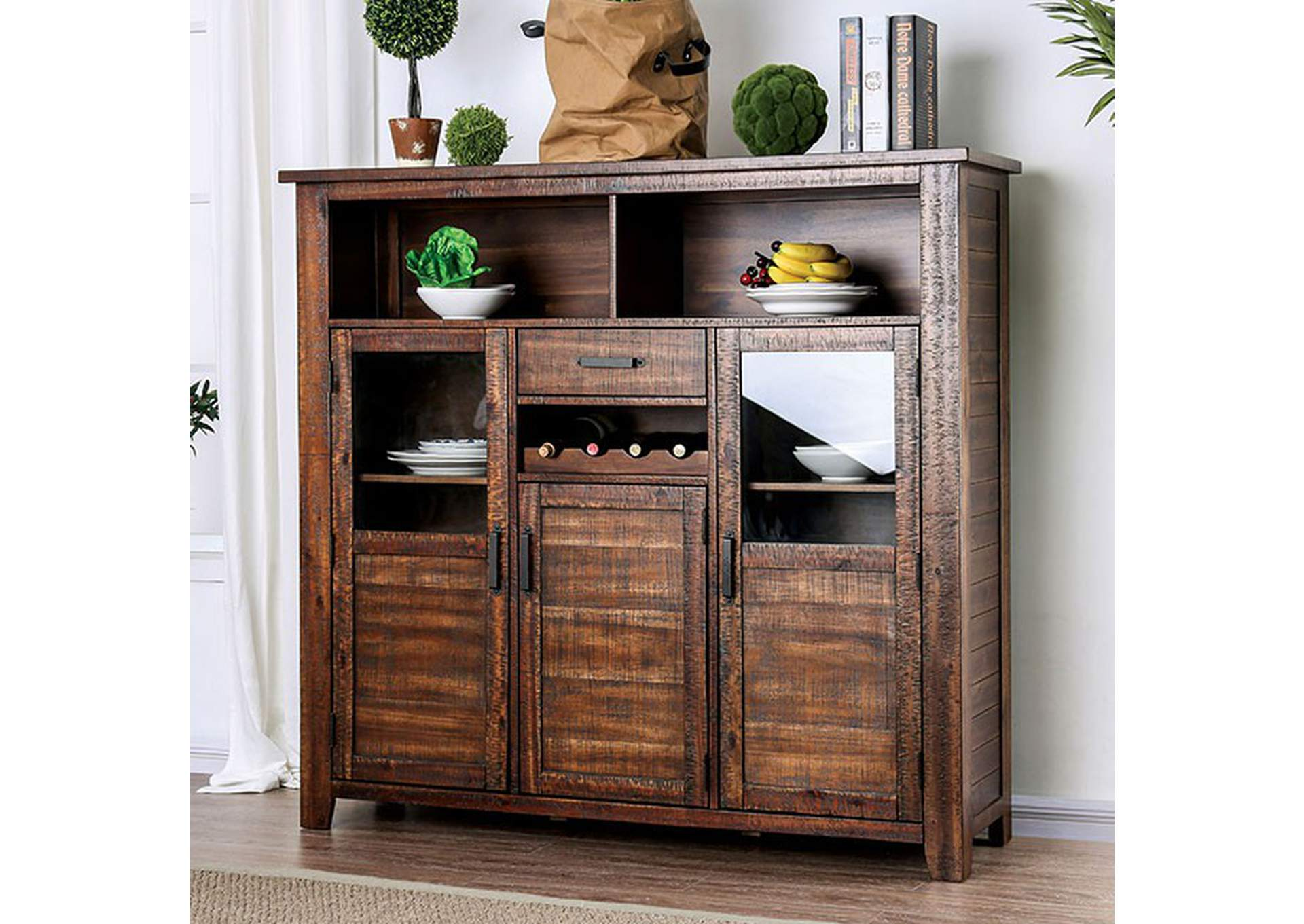 Wichita Distressed Dark Oak Server,Furniture of America