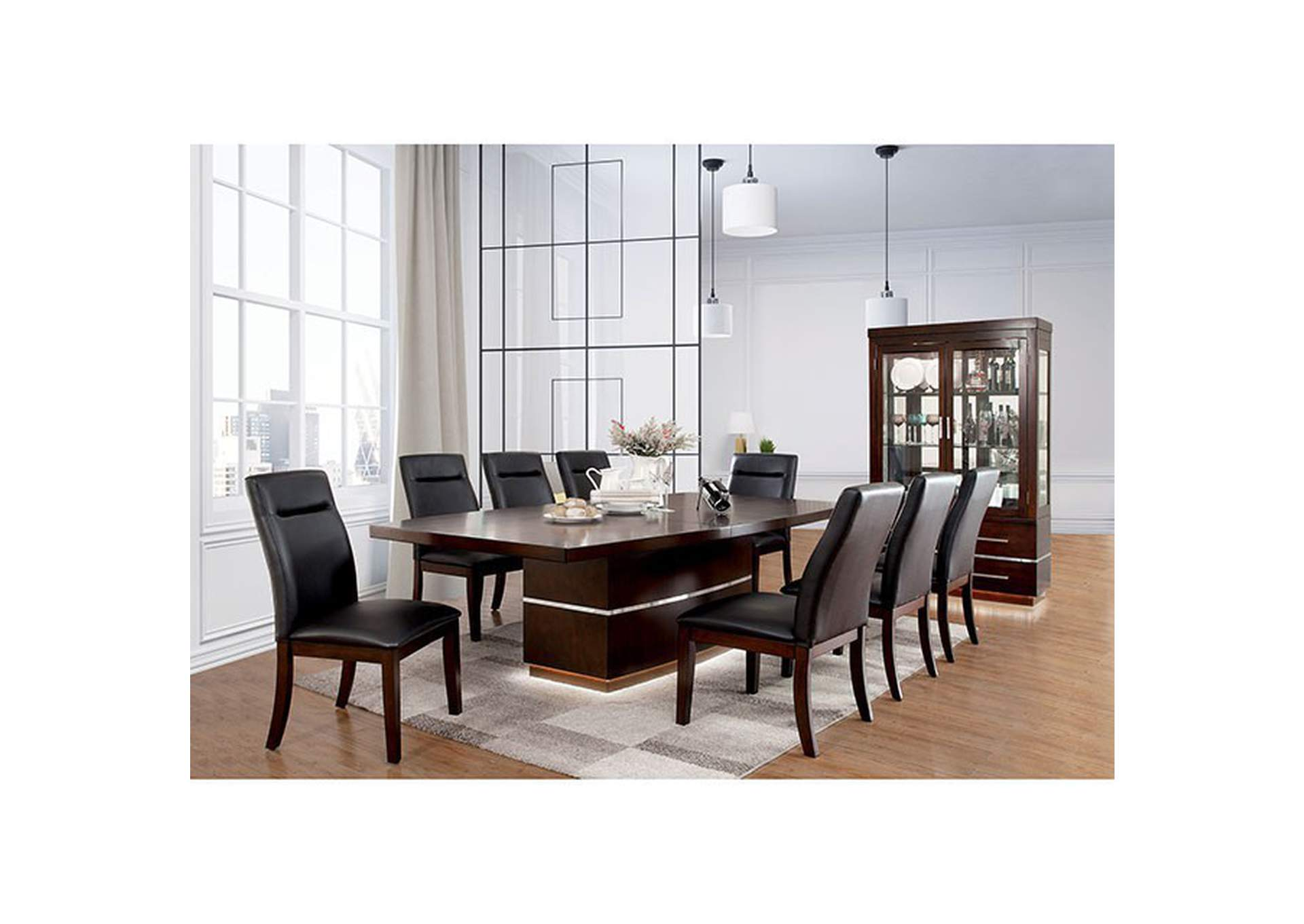 Lawrence Dark Cherry Dining Table Furniture Fashions