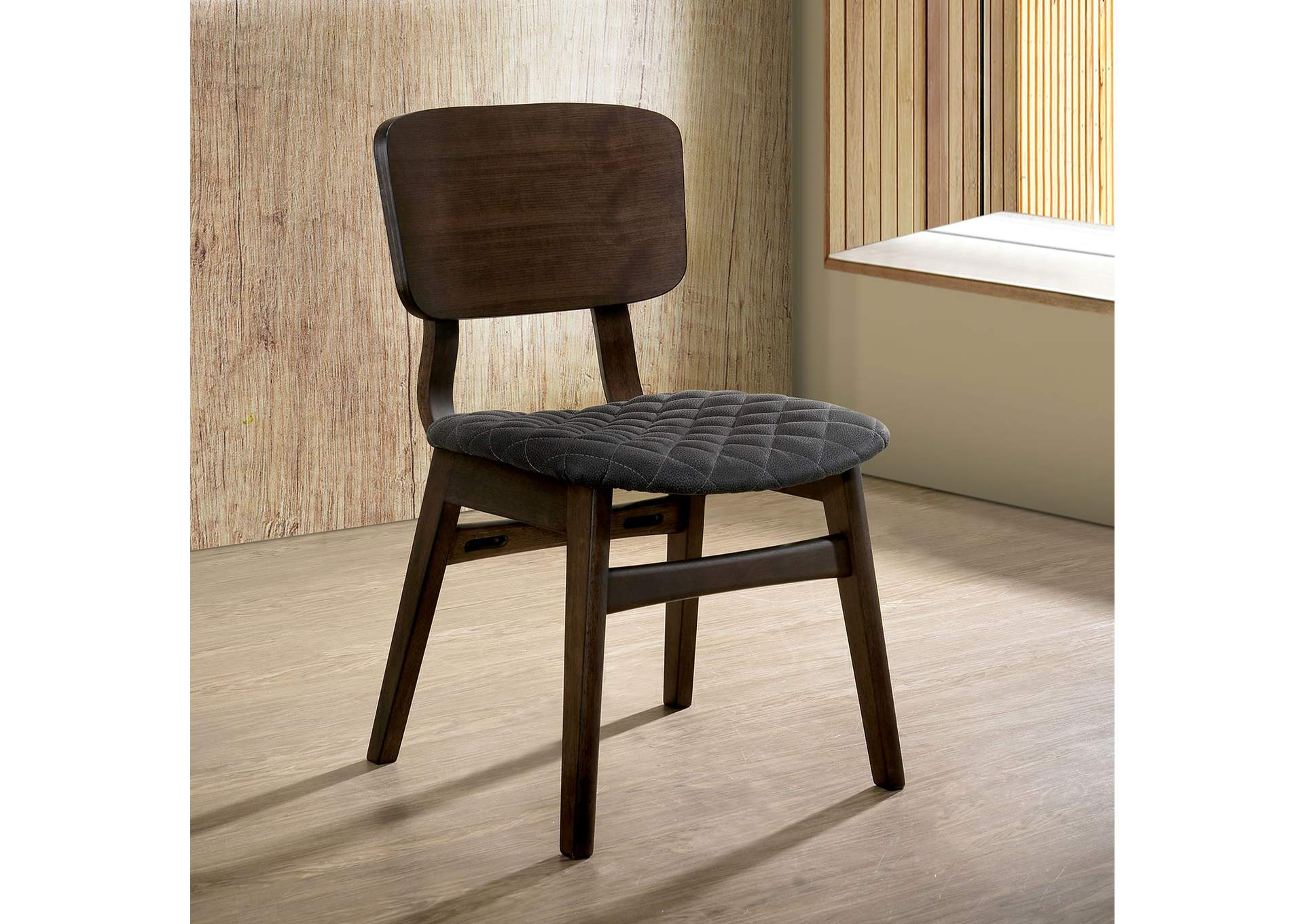 Shayna Gray Walnut Side Chair (Set of 2),Furniture of America