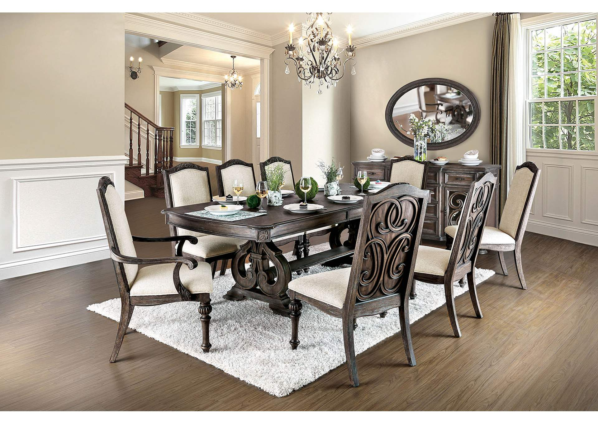 "Arcadia Rustic Dining Table w/18"" Leaf,Furniture of America"