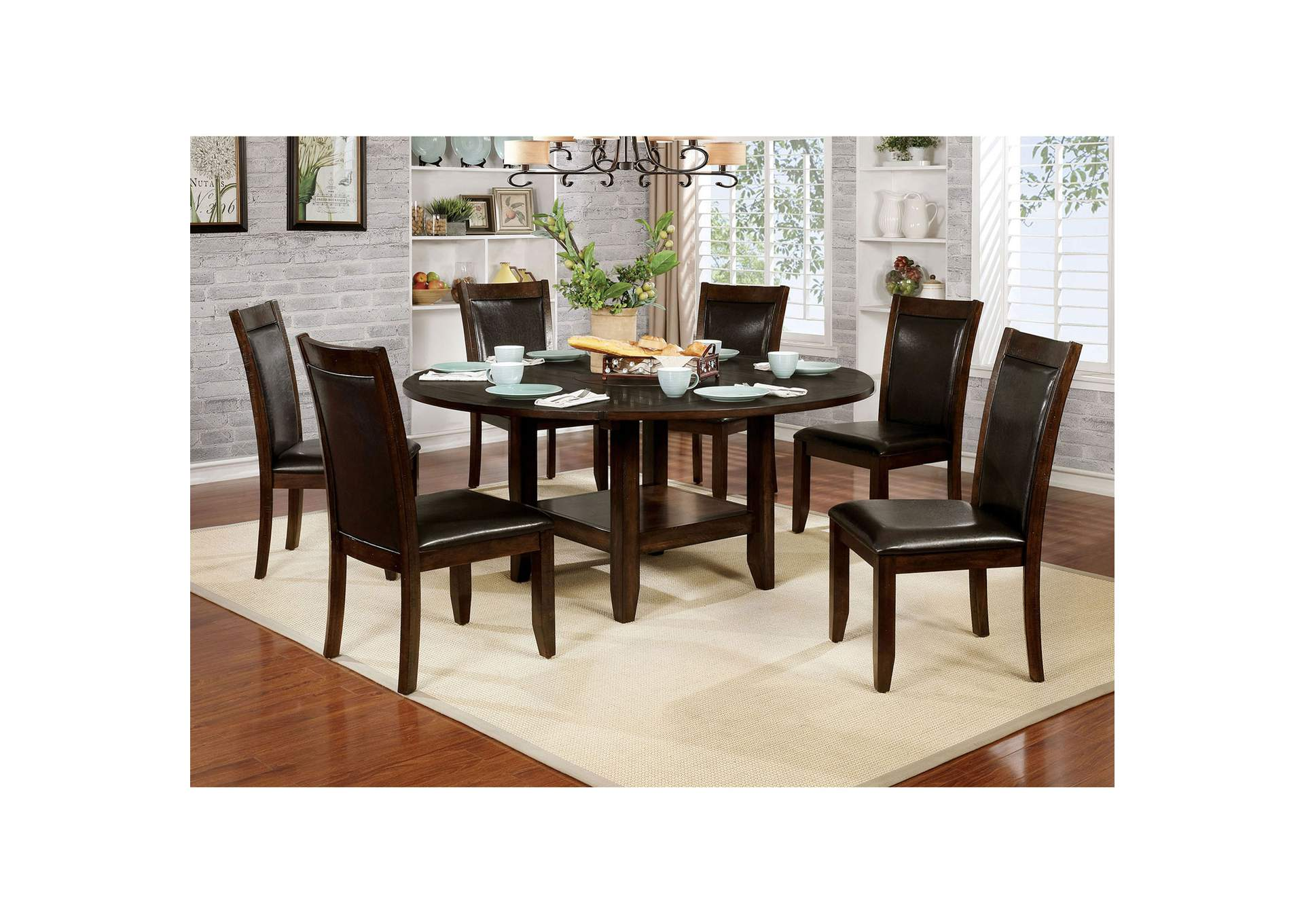 "Maegan I Brown Dining Table w/18"" Lazy Susan,Furniture of America"