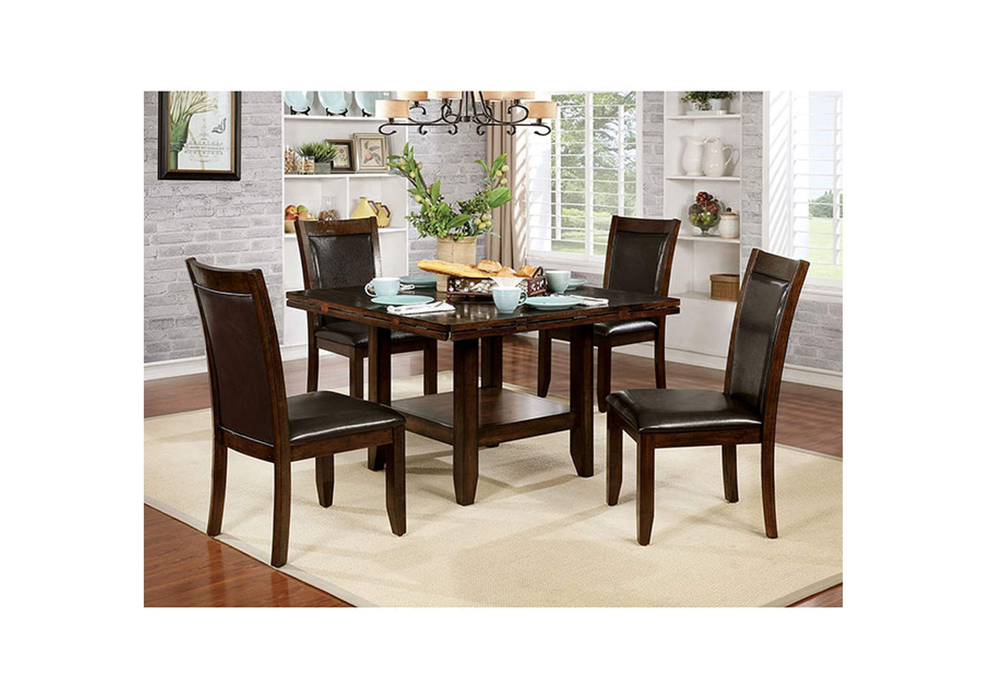 Maegan Brown Cherry Round Dining Table,Furniture of America