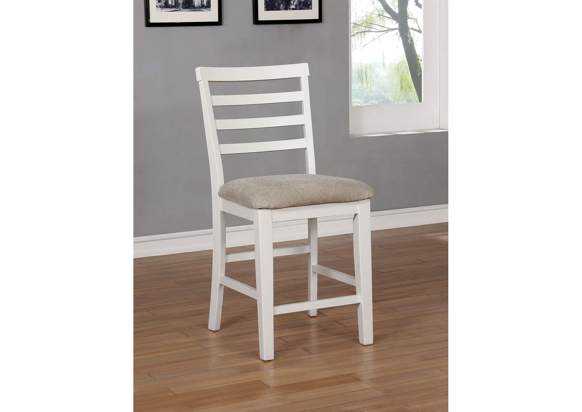 Kiana White Counter Height Chair [Set of 2],Furniture of America