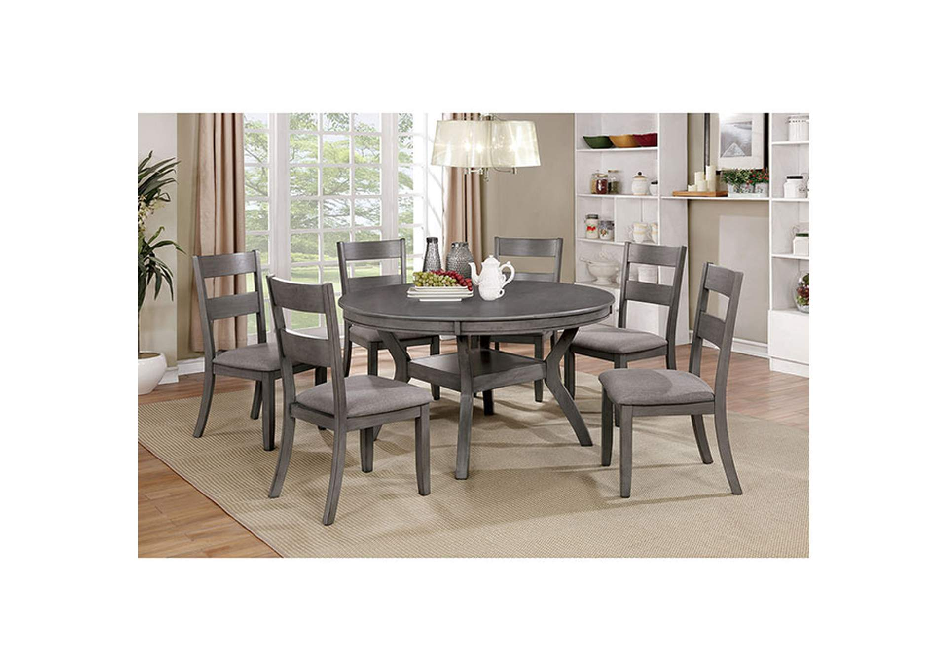 Juniper Gray Round Dining Table,Furniture of America