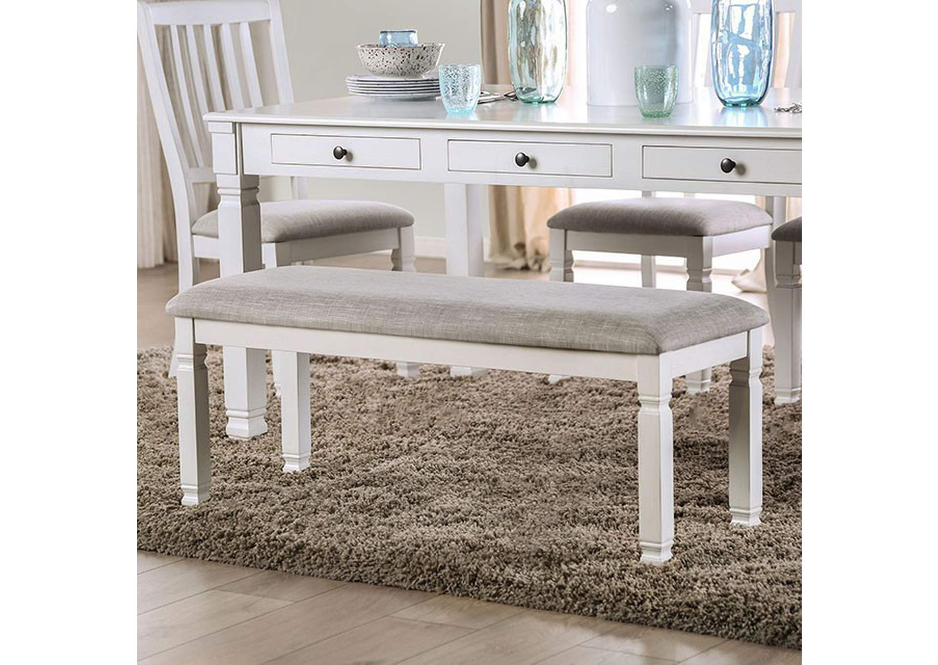 Kaliyah Antique White Upholstered Bench Best Buy Furniture And Mattress