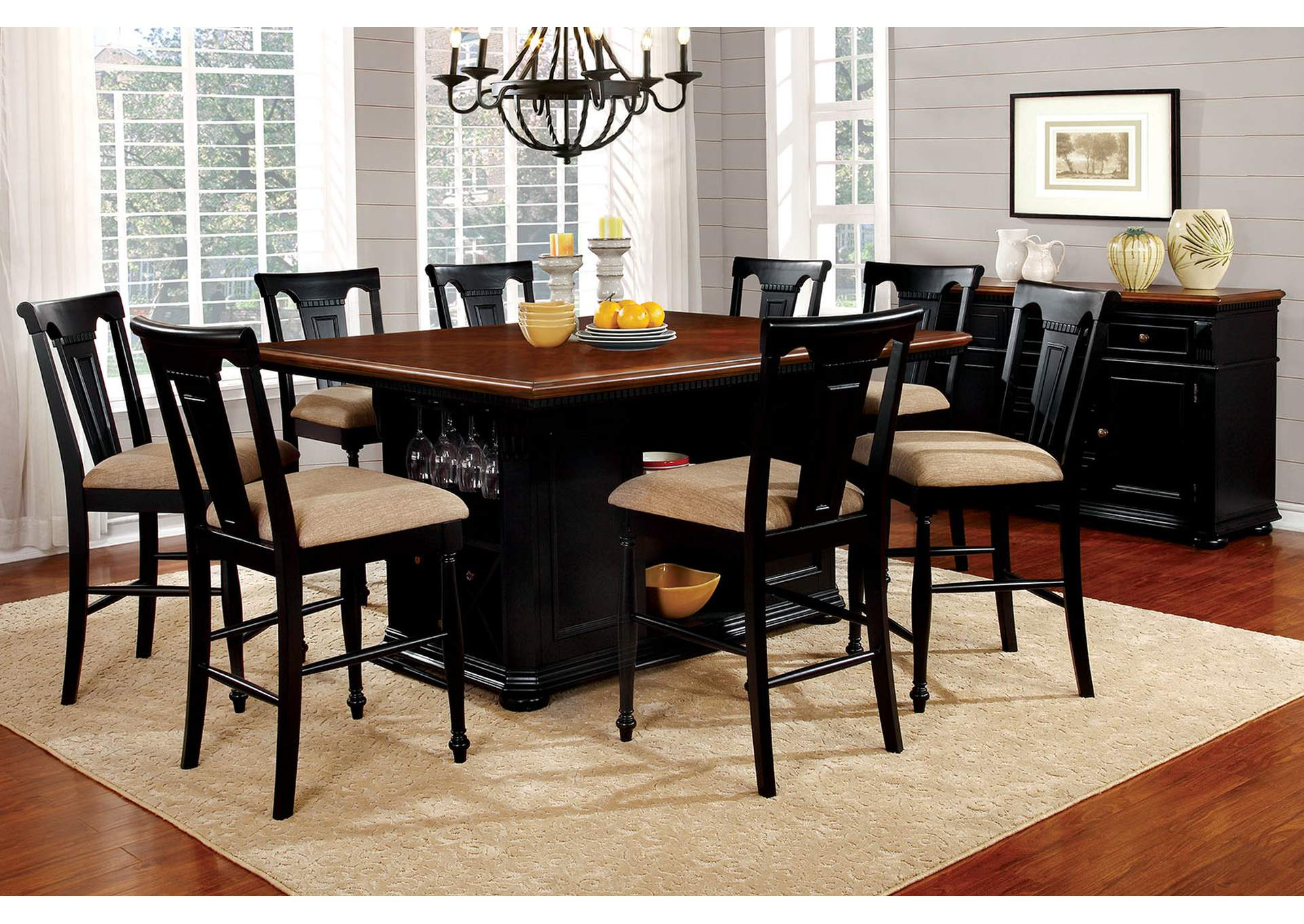 Sabrina Black Counter Height Table,Furniture of America