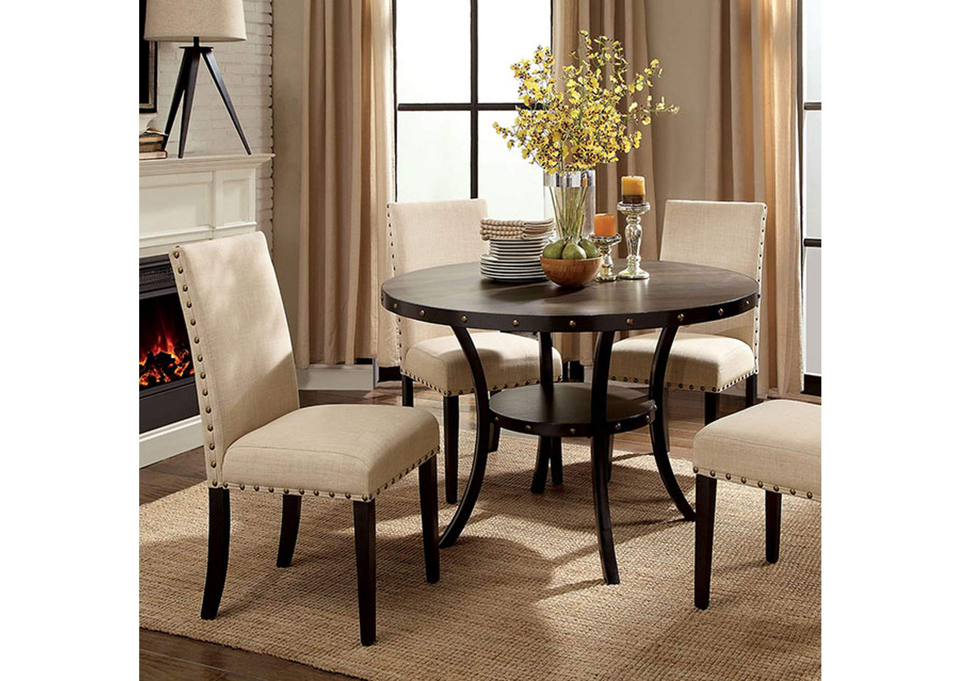 Kaitlin Light Walnut Round Dining Table,Furniture of America