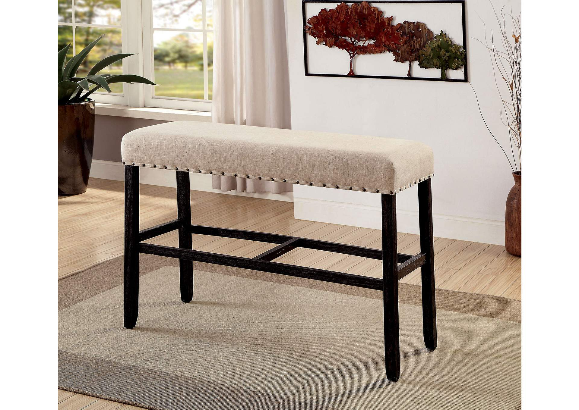 Sania Antique Black Bar Bench,Furniture of America
