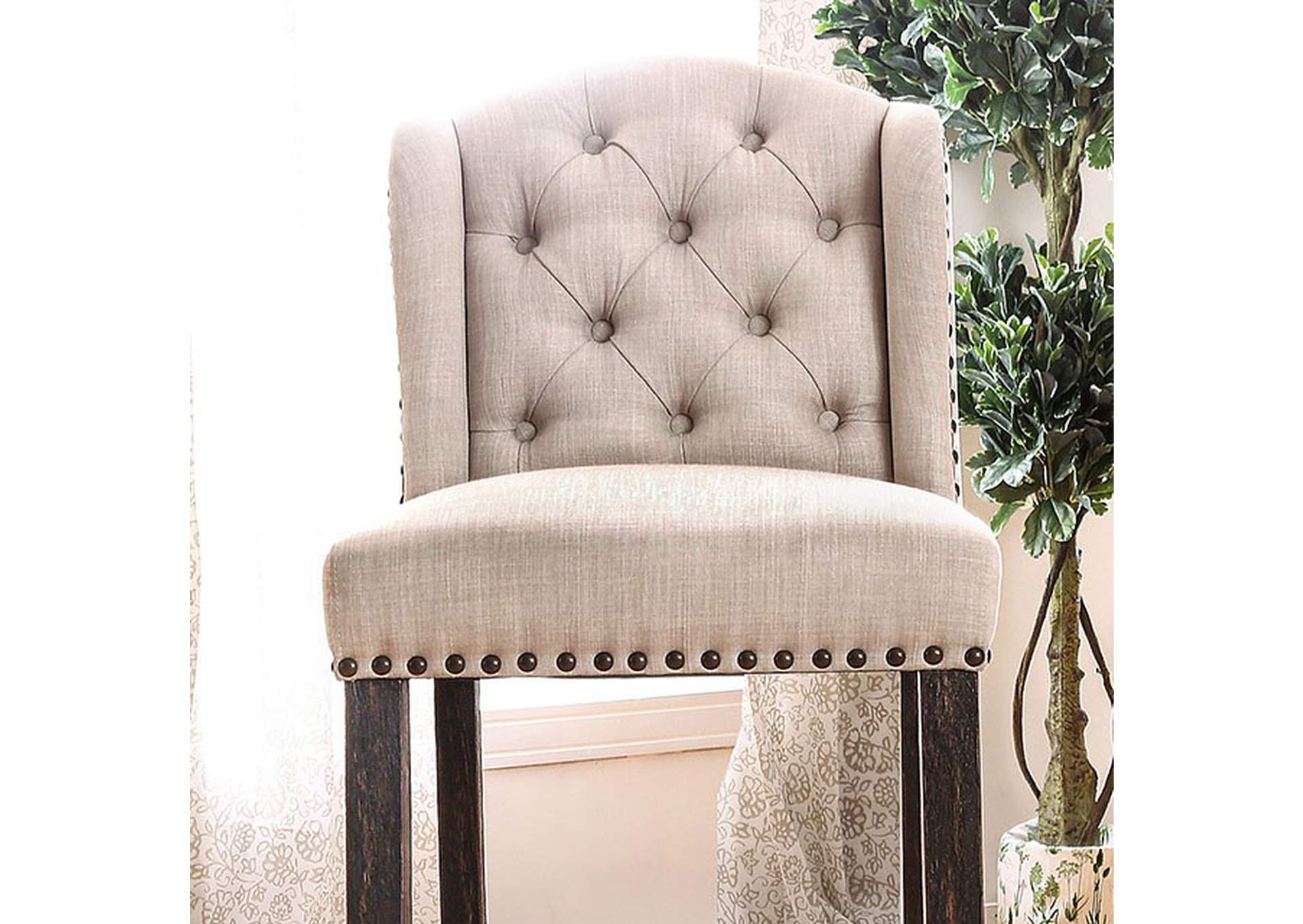 Sania II Antique Black/Beige Wingback Bar Chair (Set of 2),Furniture of America