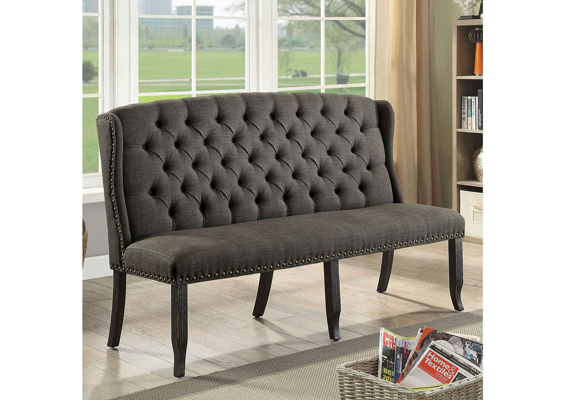 Sania Antique Black 3-Seater Loveseat Bench,Furniture of America