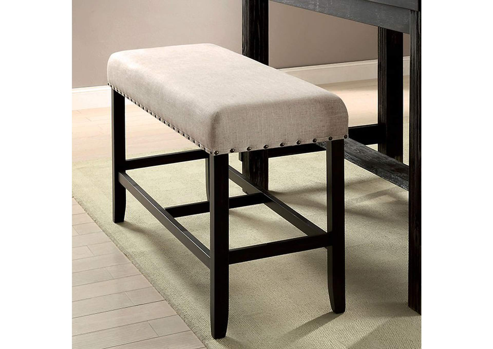 Sania Antique Black Counter Height Bench,Furniture of America