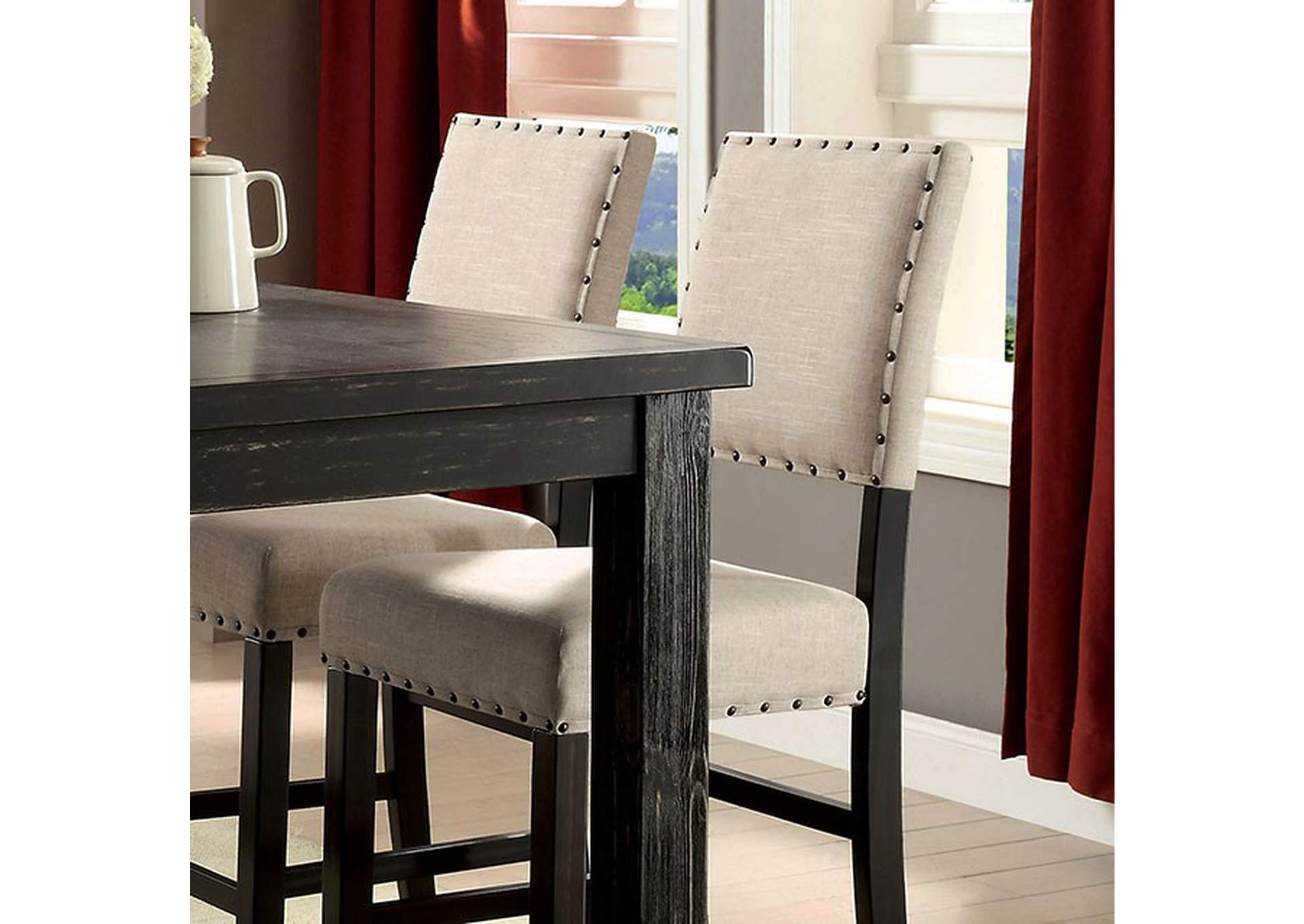Sania II Antique Black/Beige Counter Chair (Set of 2),Furniture of America