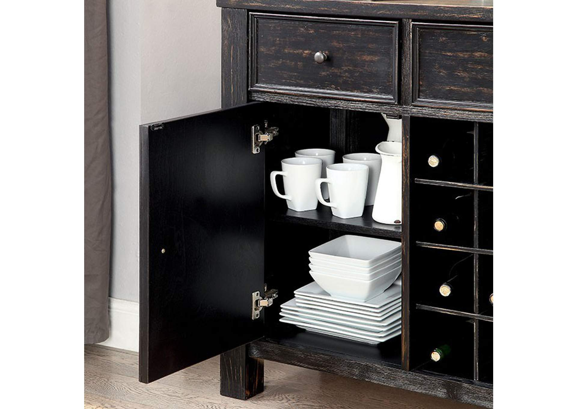 Sania III Black Server,Furniture of America
