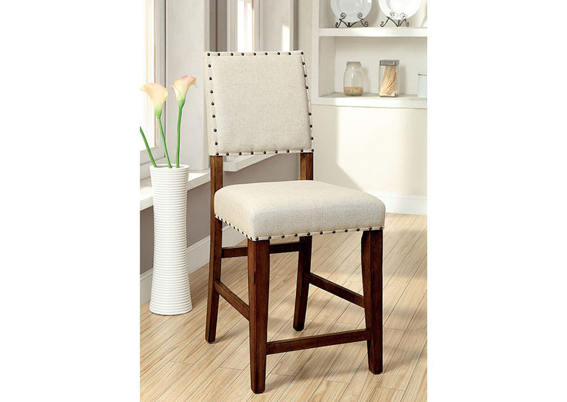 Sania Rustic Oak/Ivory Upholstered Counter Chair (Set of 2),Furniture of America