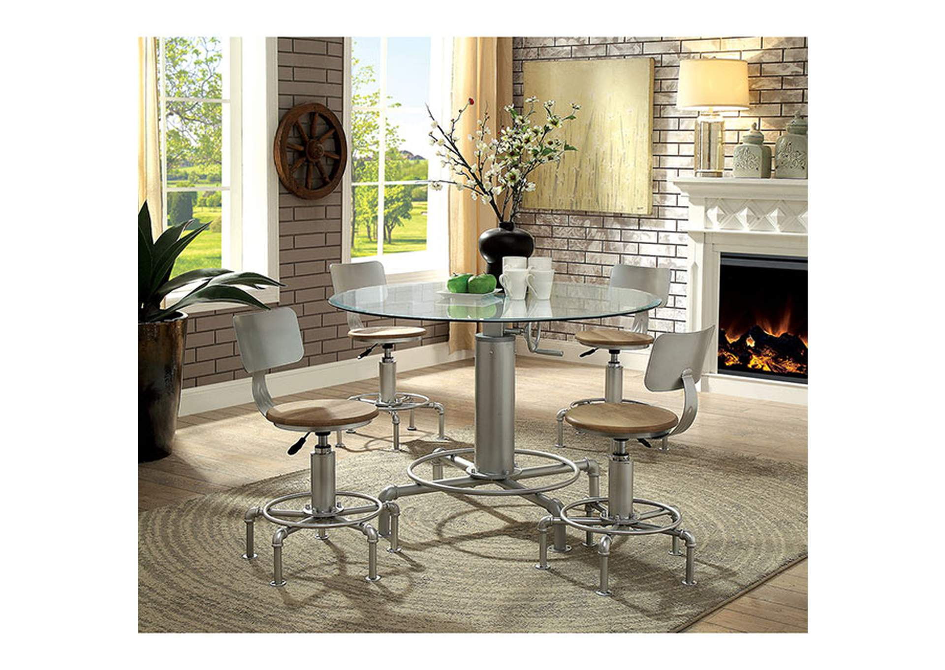 Helen Silver Dining Table w/Glass Top,Furniture of America