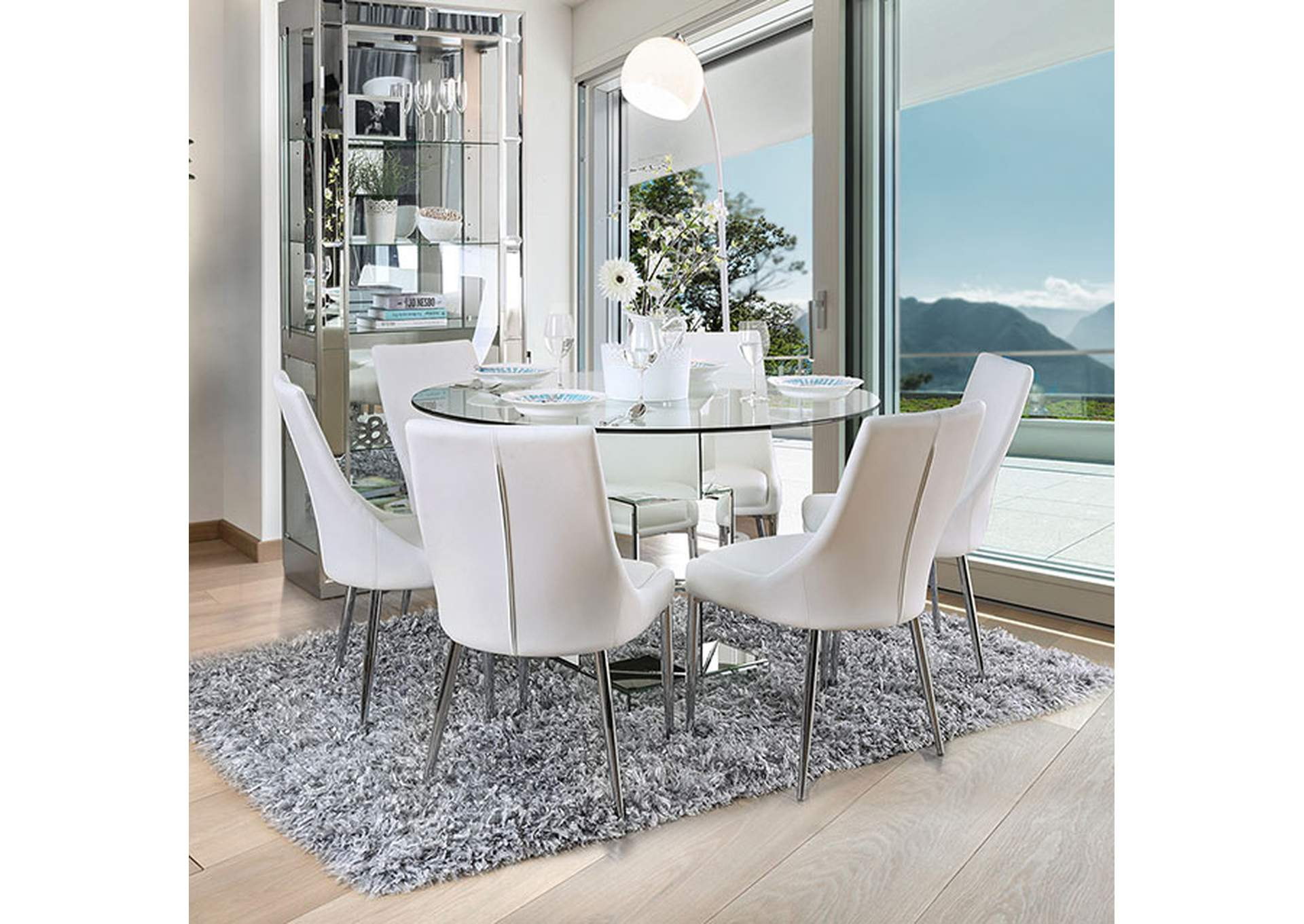 Izzy Silver Dining Table,Furniture of America
