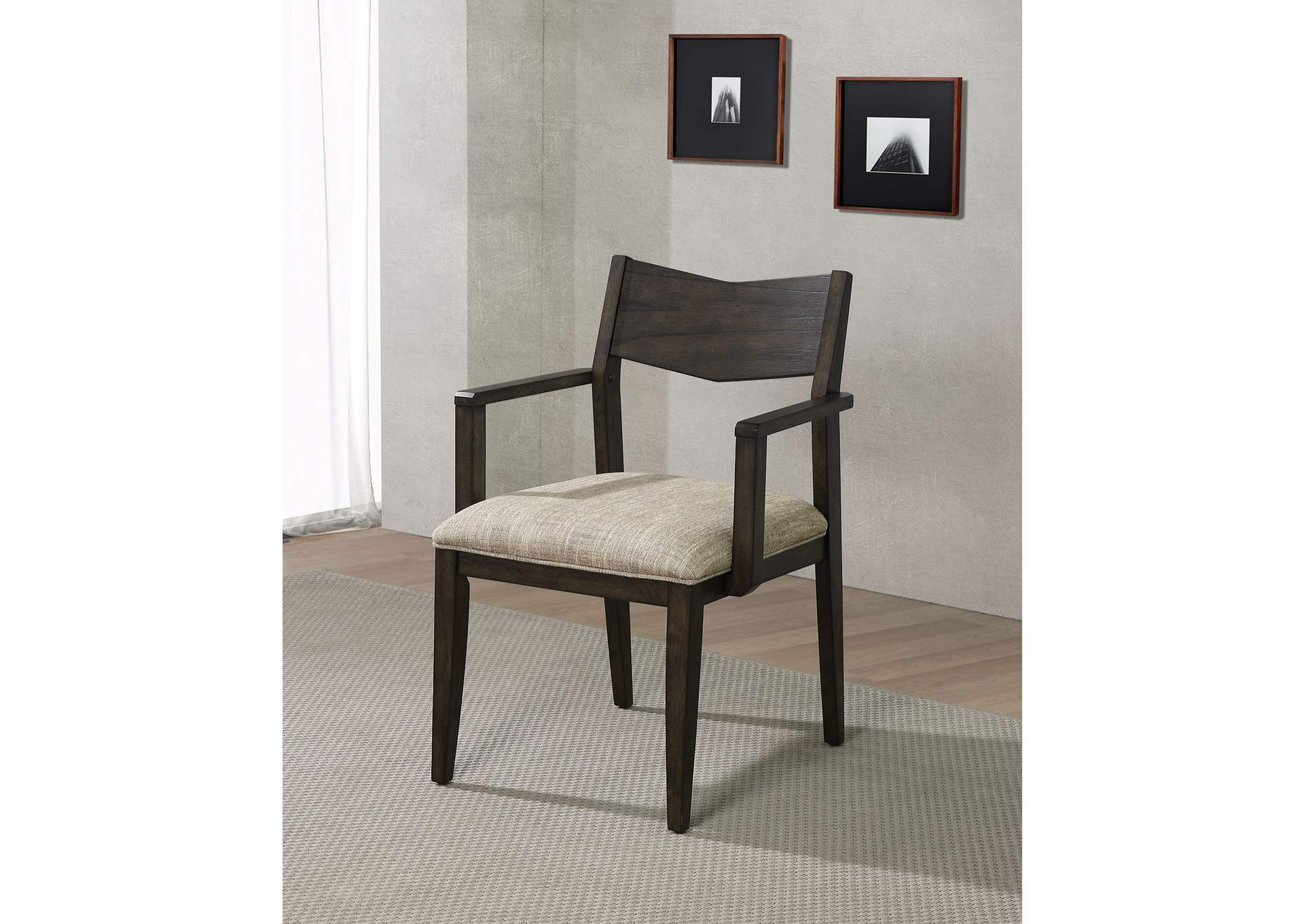 Meridian Dark Walnut Arm Chair [Set of 2],Furniture of America