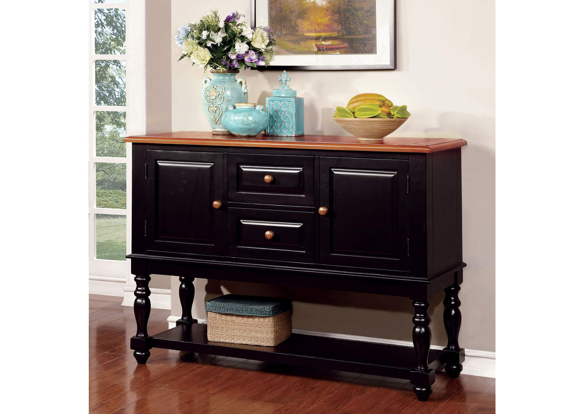 Mayville Black/Antique Oak Server w/Storage,Furniture of America