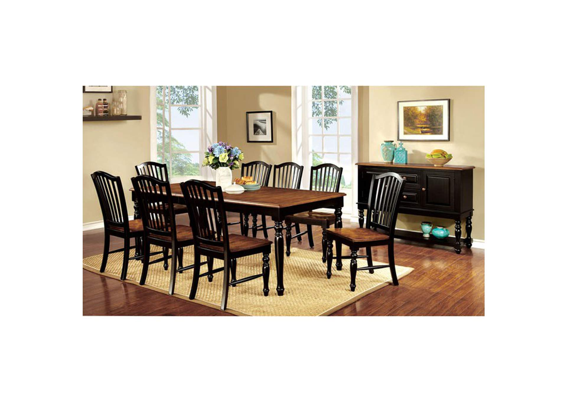 Mayville Black/Antique Oak Dining Table w/18