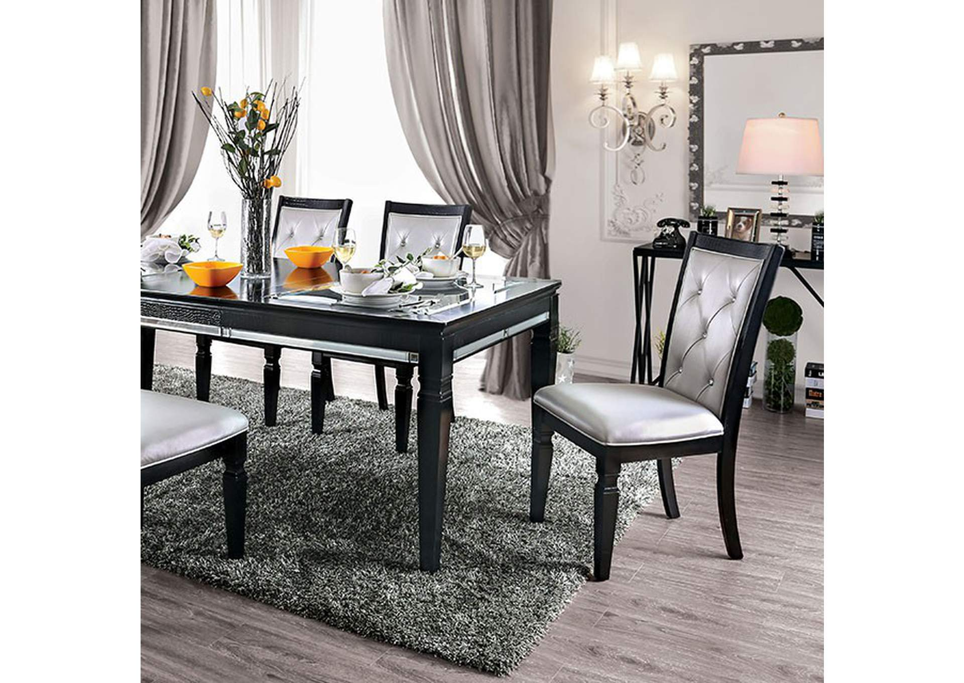 Alena Black Dining Table,Furniture of America