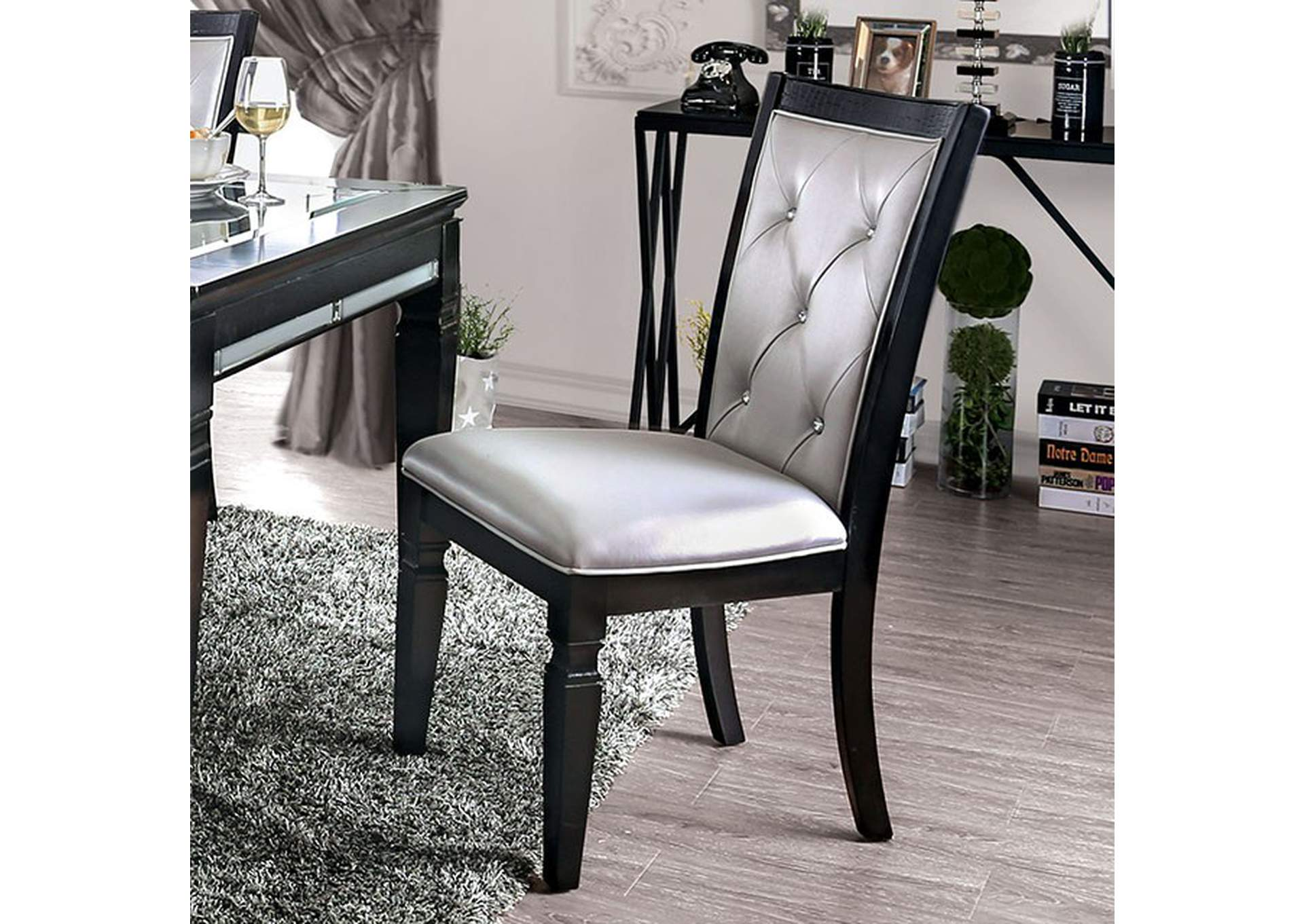 Alena Black Side Chair [Set of 2],Furniture of America