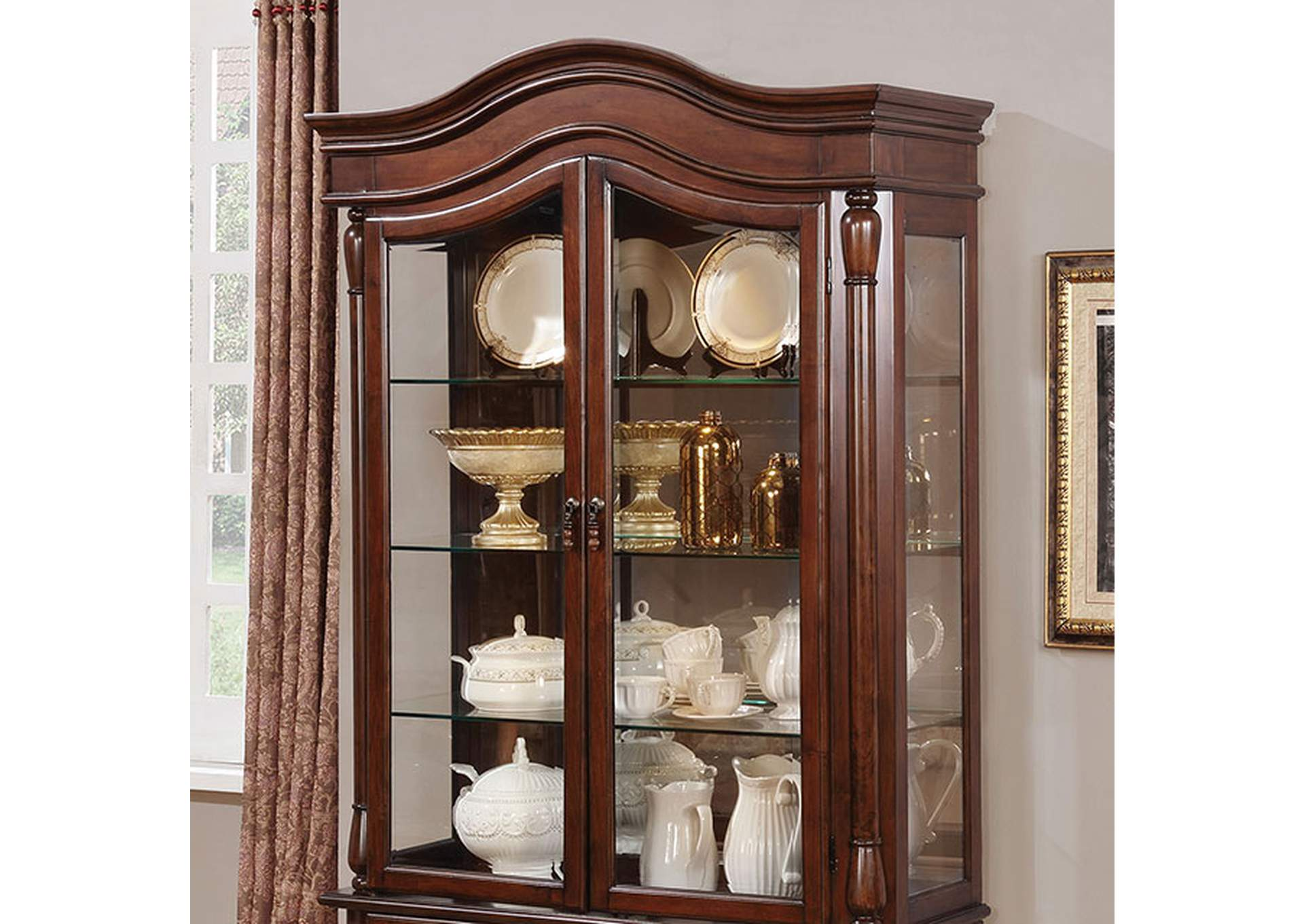 Sylvana Brown Cherry Hutch & Buffet,Furniture of America