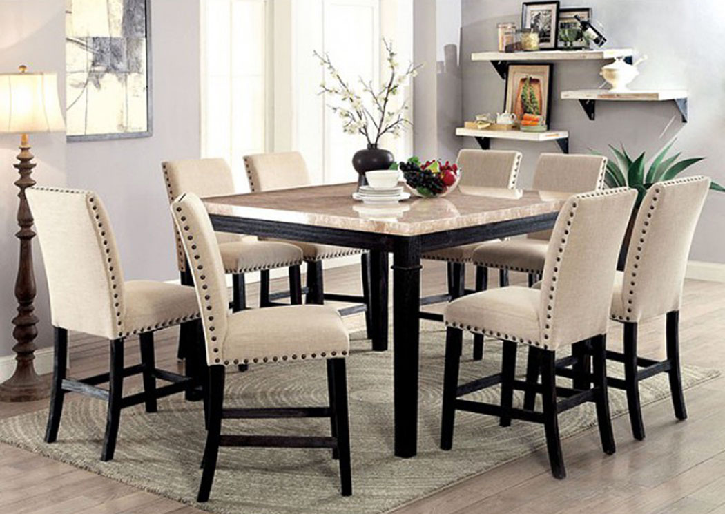 Dodson Ii Black Counter Table W 8 Chair Dimensional Furniture Outlet
