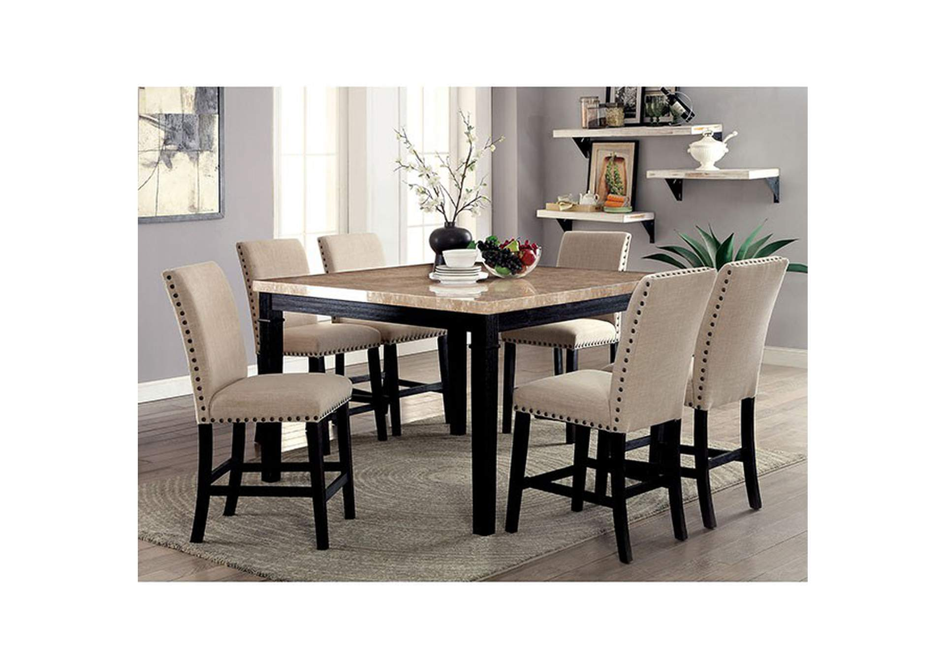 Dodson II Black Counter Table,Furniture of America