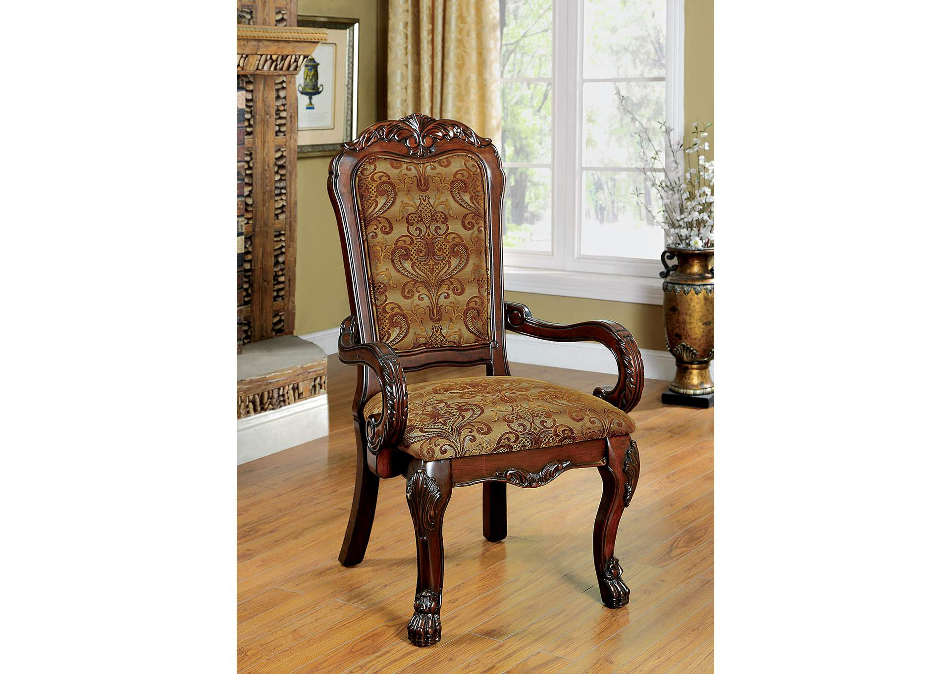 Medieve Cherry Arm Chair (2/Box),Furniture of America