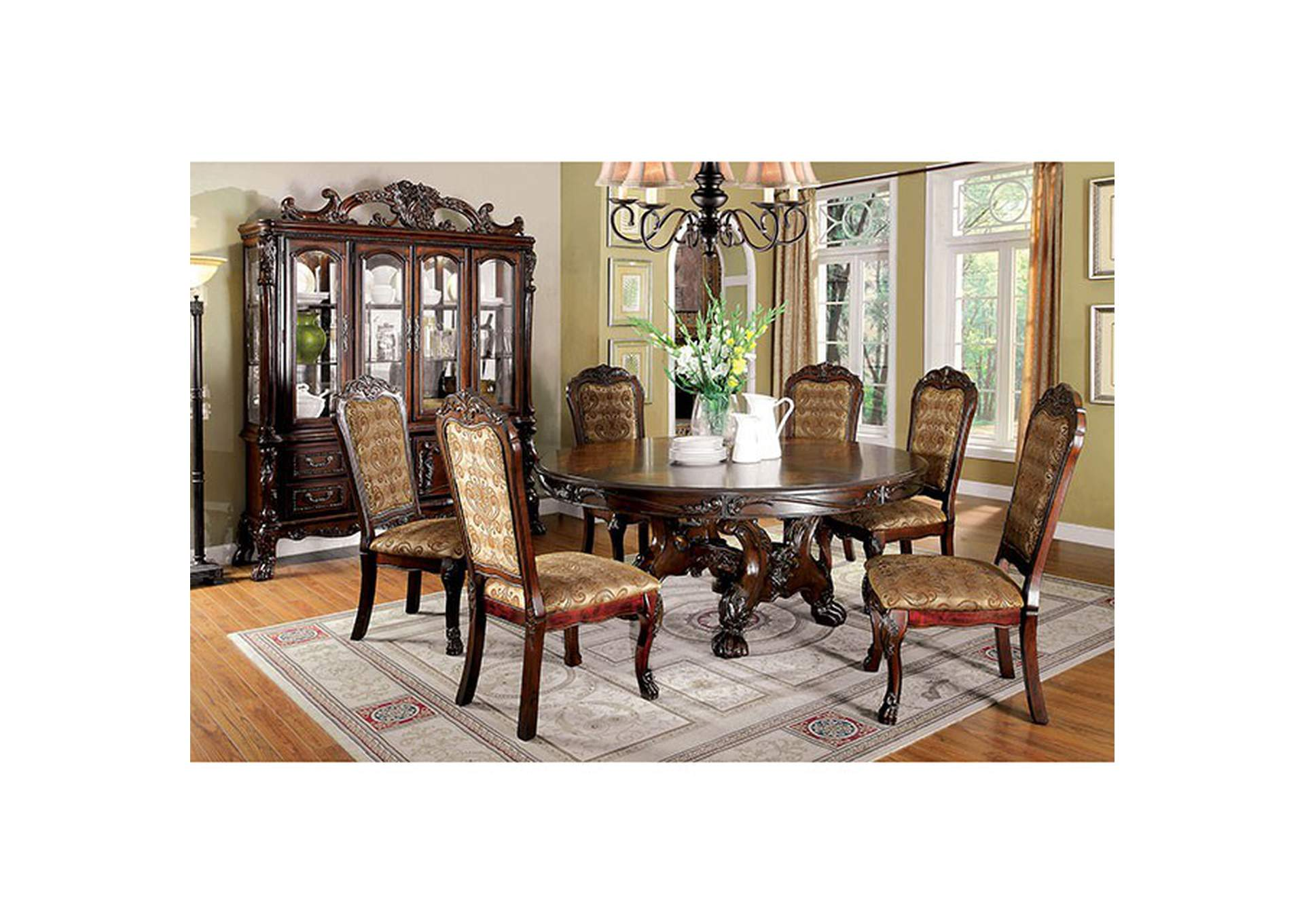 Medieve Cherry Round Table,Furniture of America