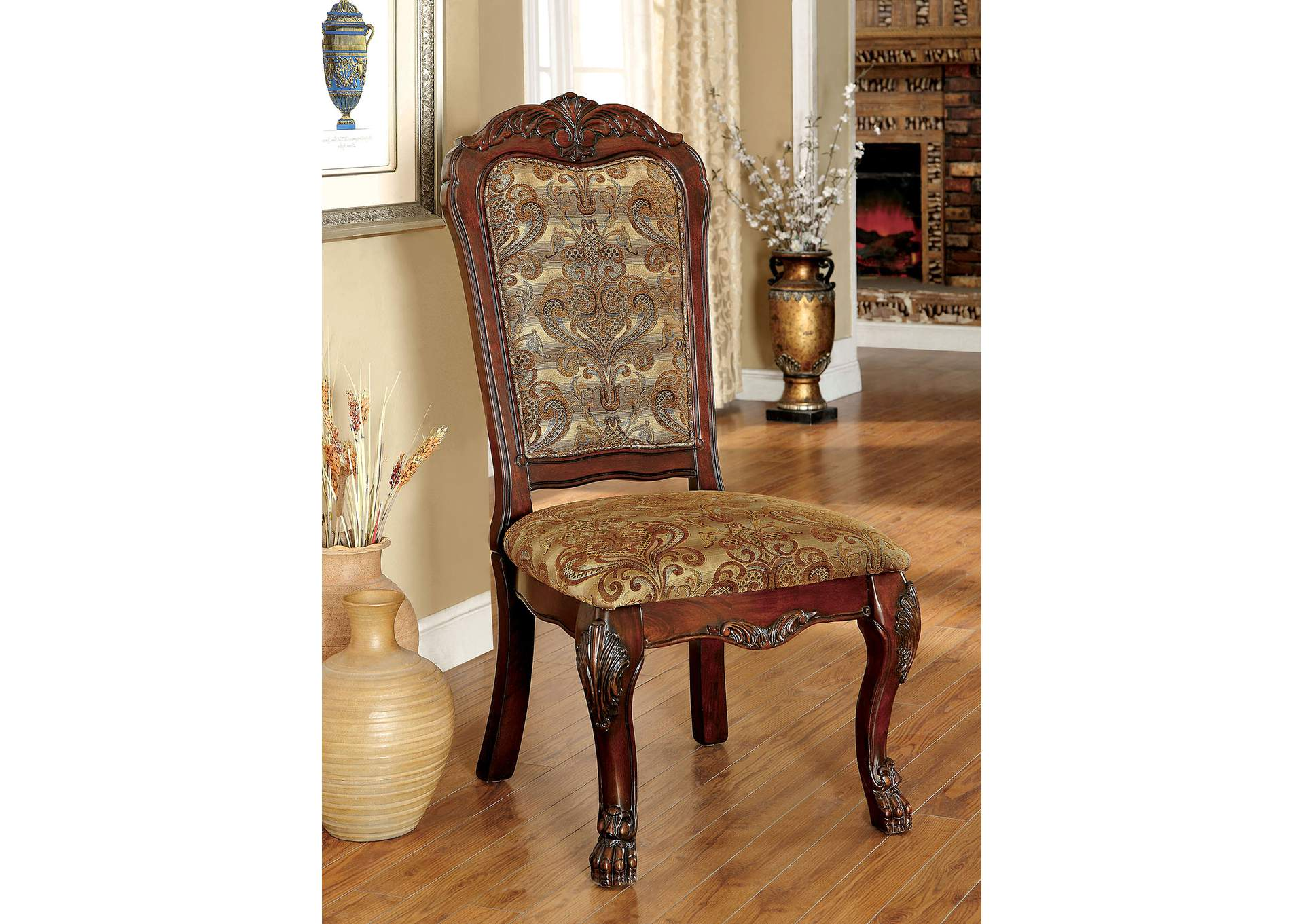 Medieve Brown Side Chair [Set of 2],Furniture of America
