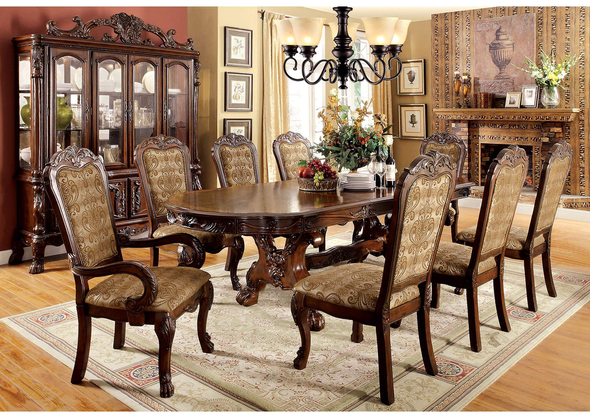 Medieve Cherry Oval Dining Table,Furniture of America