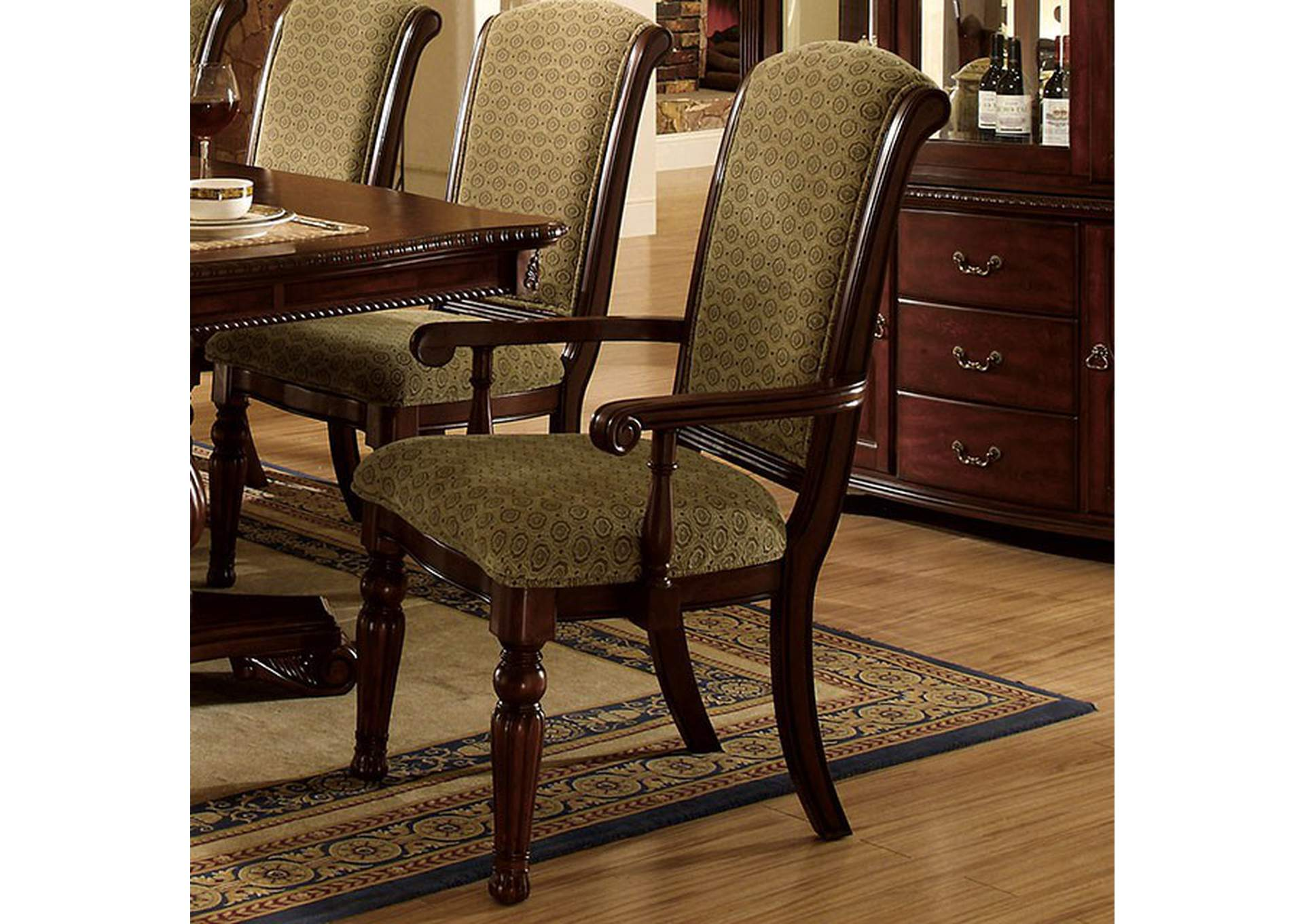 Majesta Dark Cherry Finish Arm Chair [Set of 2],Furniture of America
