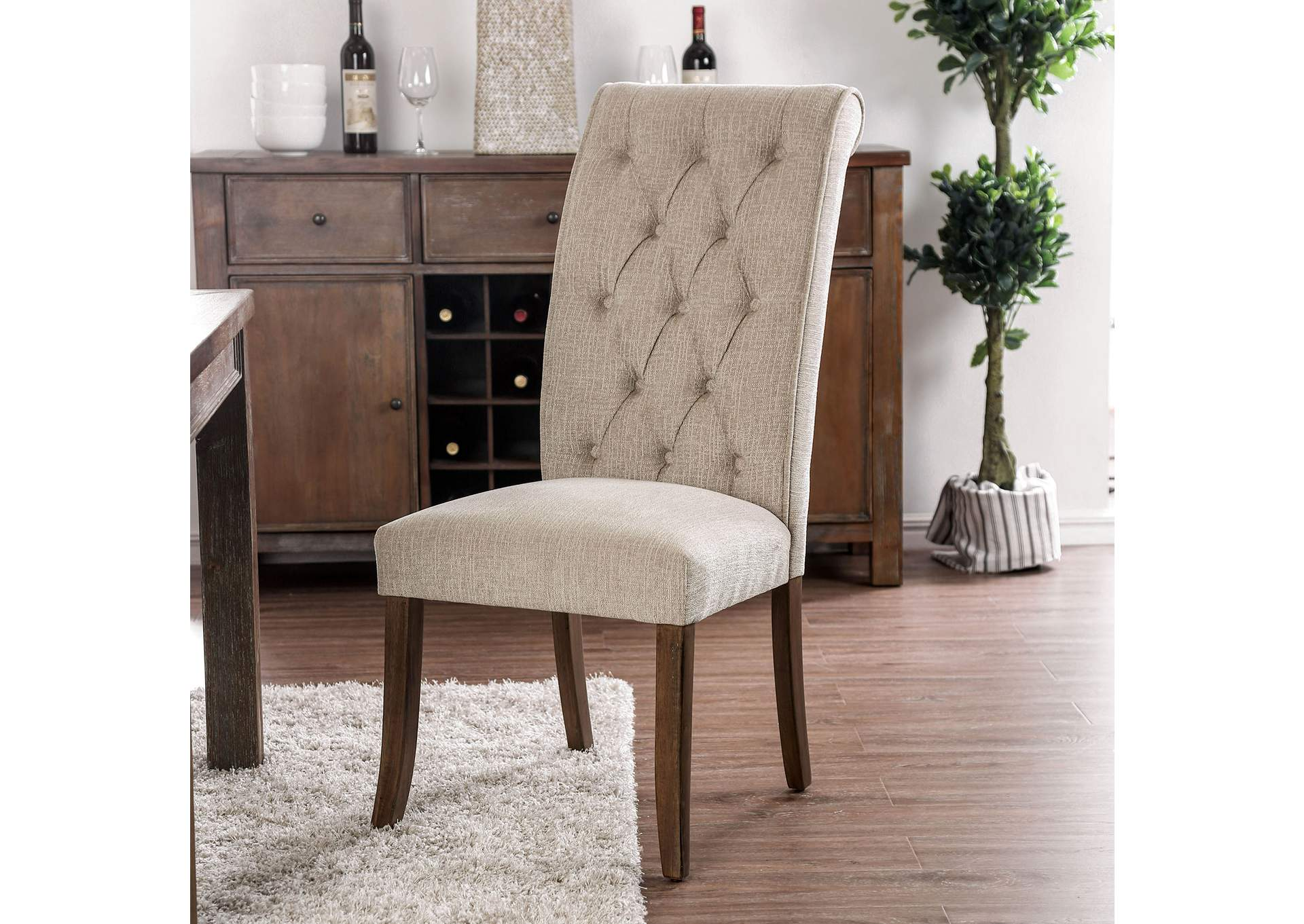 Sania III Upholstered Beige Side Chair (Set of 2),Furniture of America