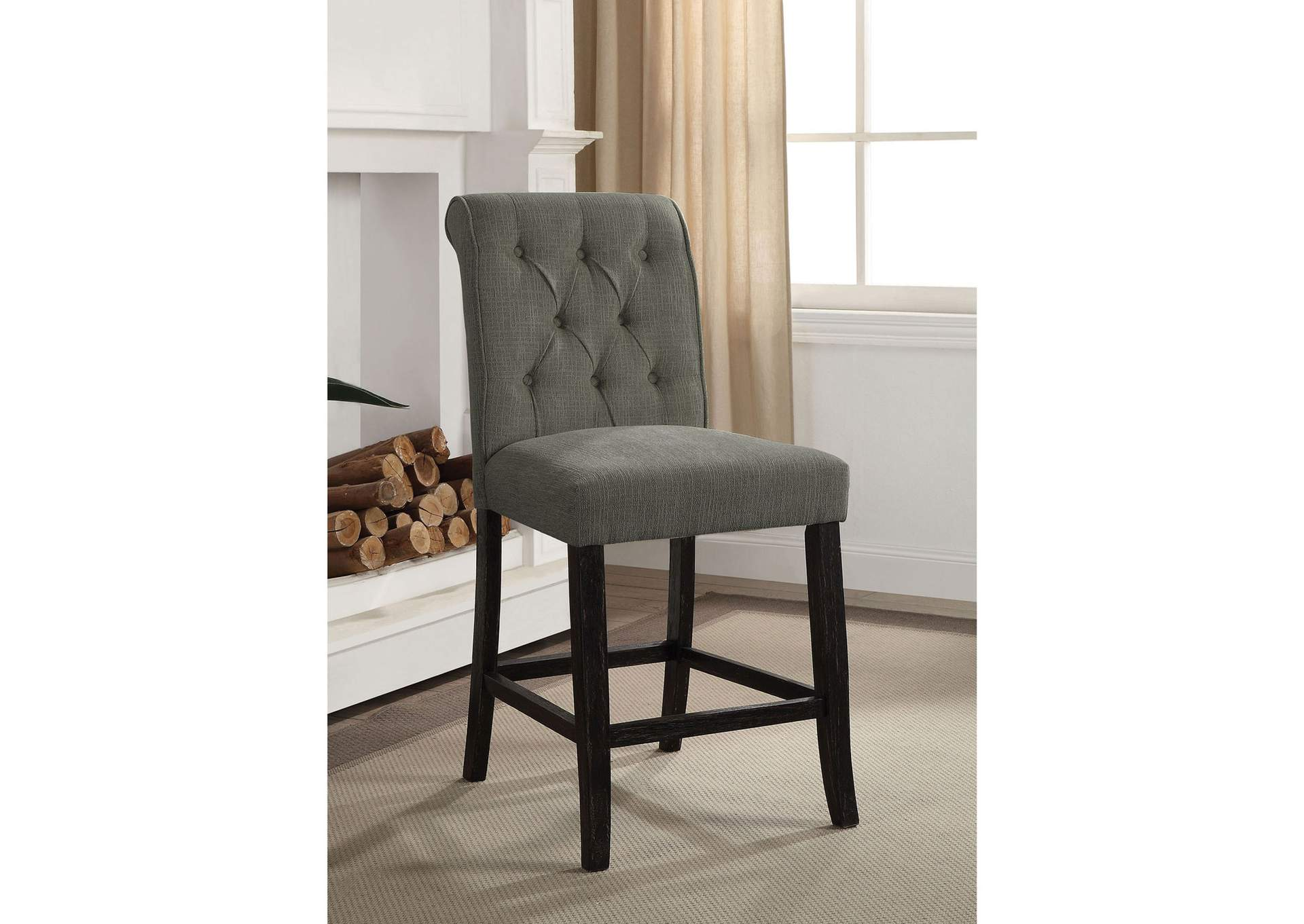 Izzy Gray Counter Height Chair [Set of 2],Furniture of America